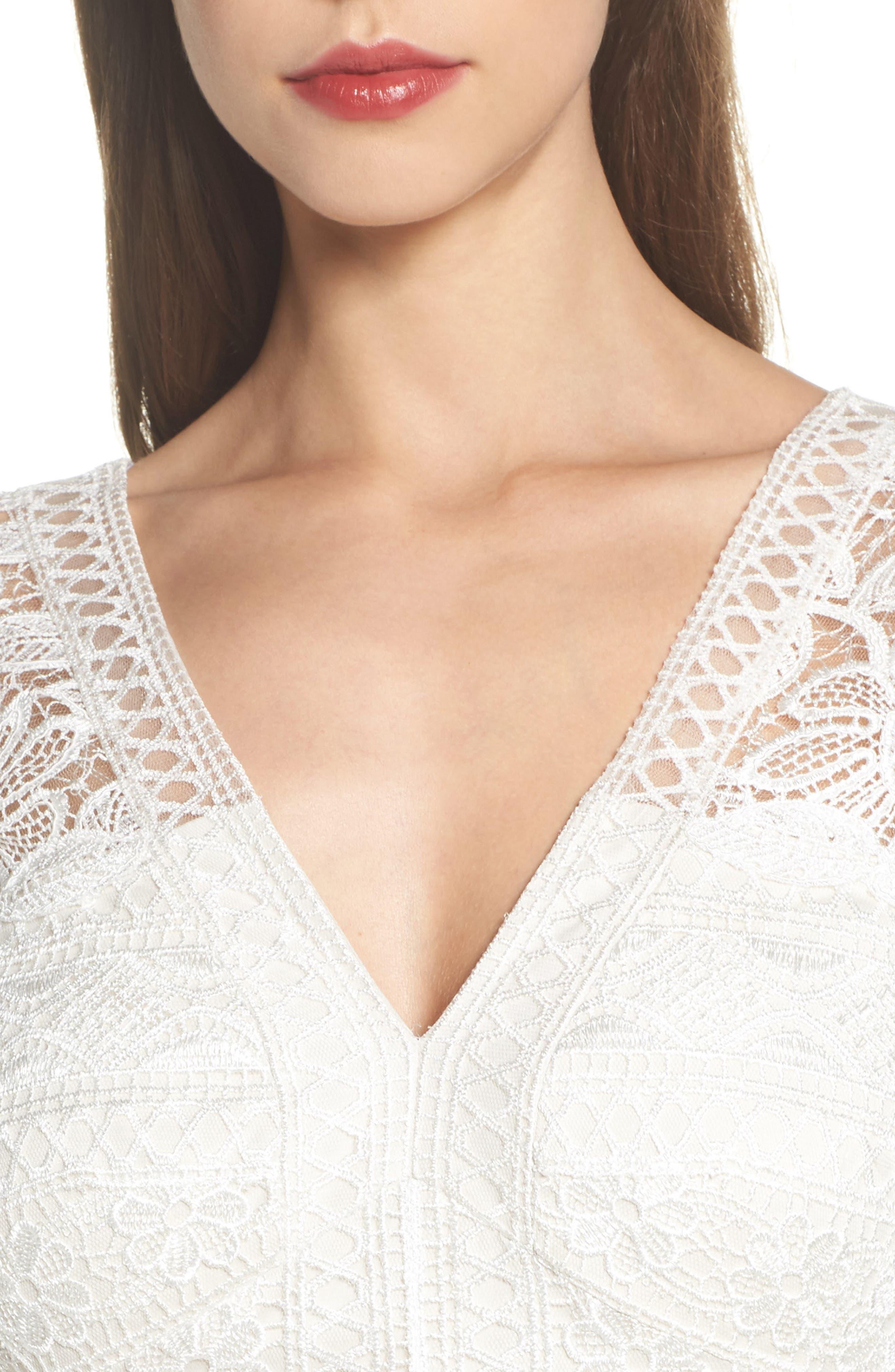 Lace & Crepe A-Line Gown,                             Alternate thumbnail 4, color,                             002