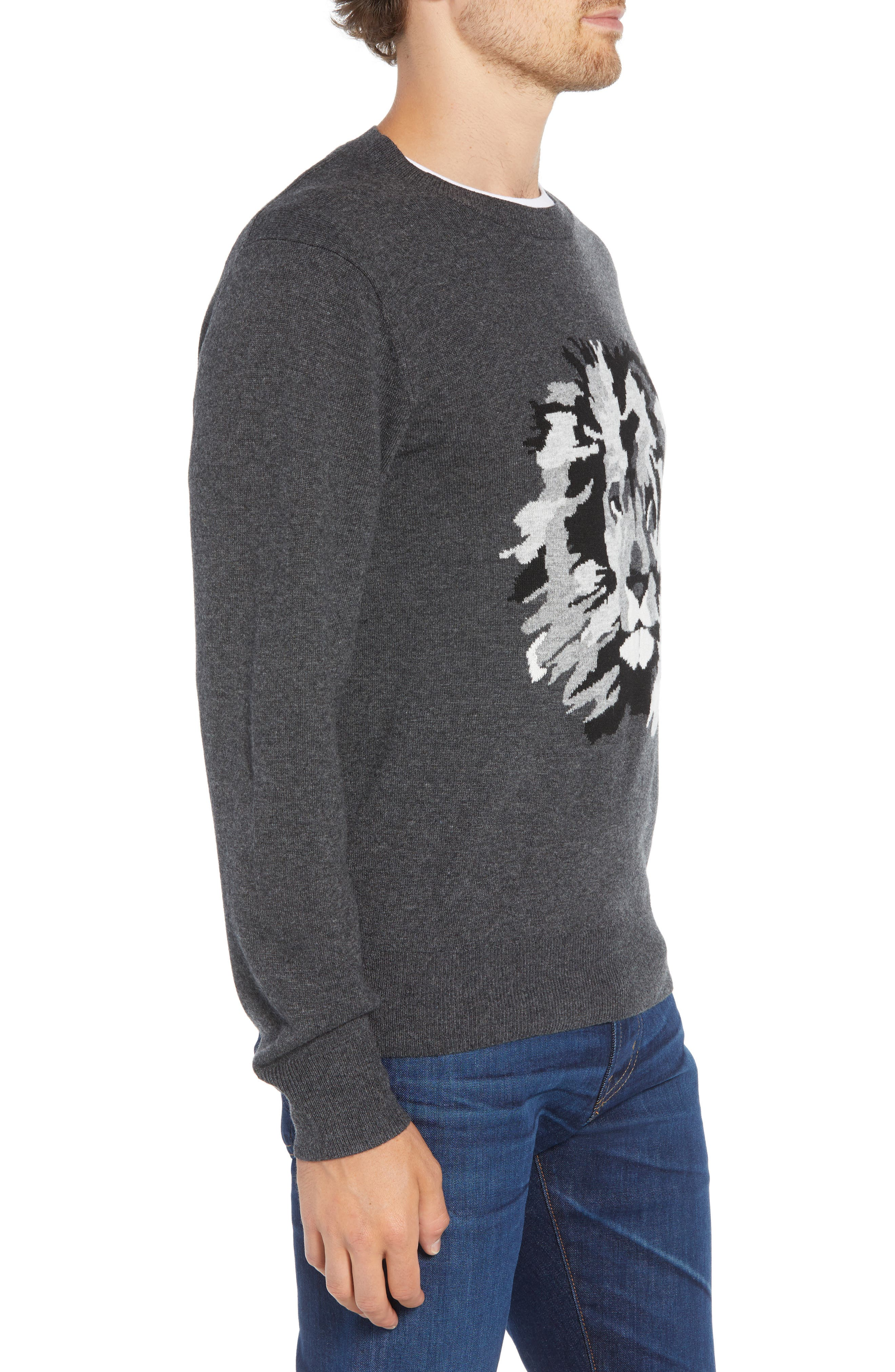 Slim Fit Lion Intarsia Sweater,                             Alternate thumbnail 3, color,                             CHARCOAL HEATHER