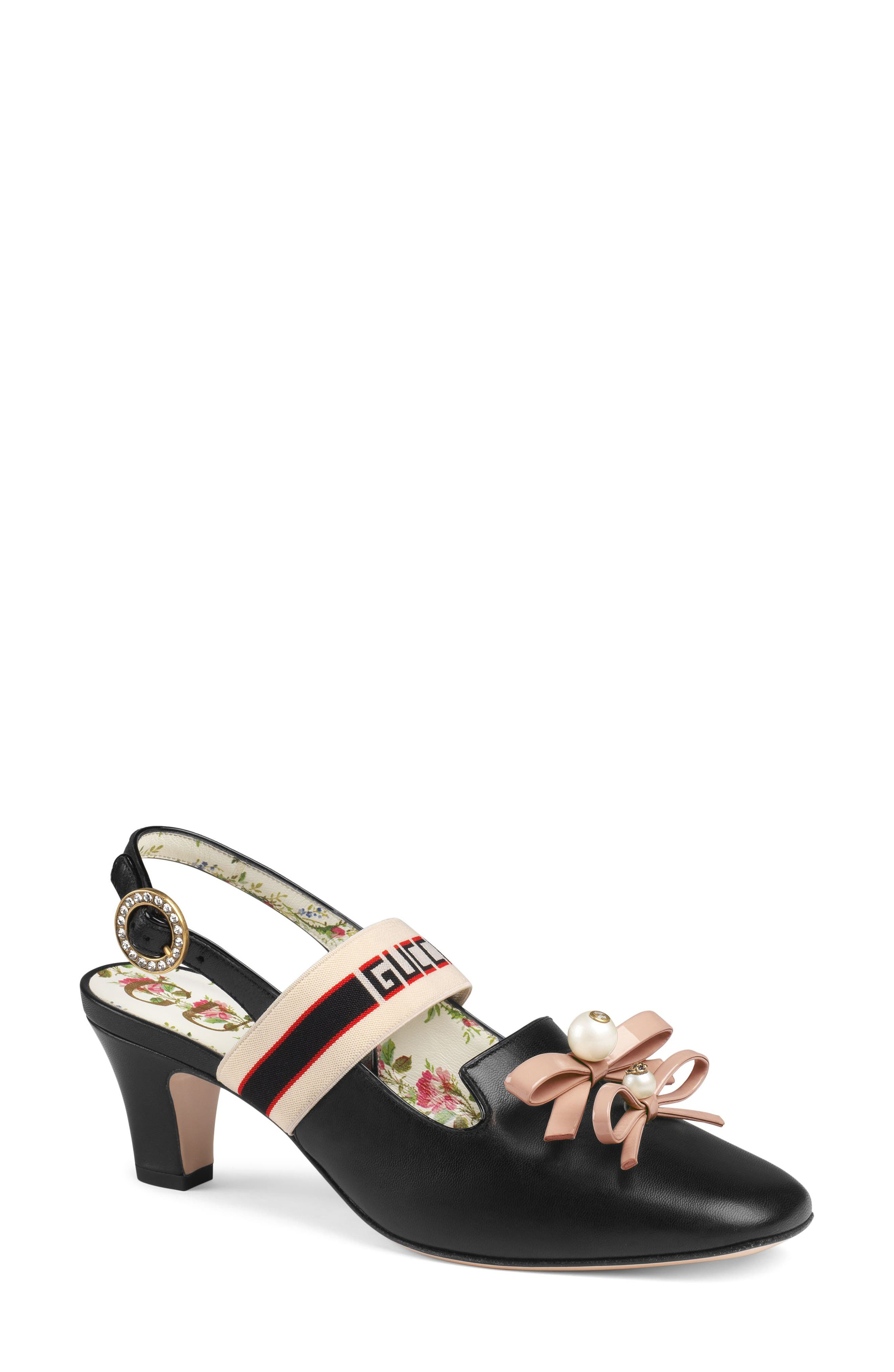 Logo Strap Slingback Pump,                         Main,                         color, BLACK
