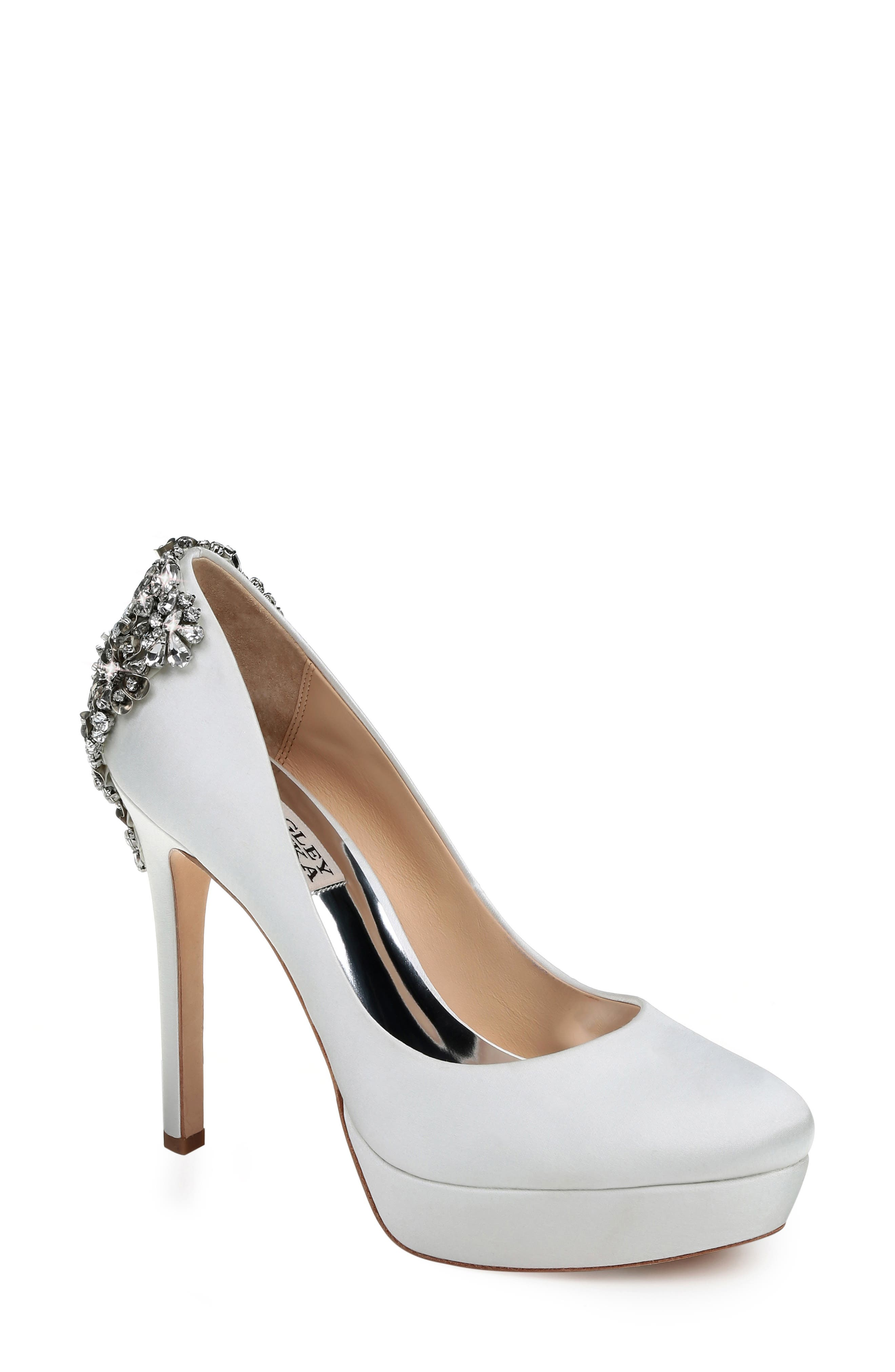 Women'S Viola Almond Toe Embellished Satin Platform High-Heel Pumps in Soft White Satin