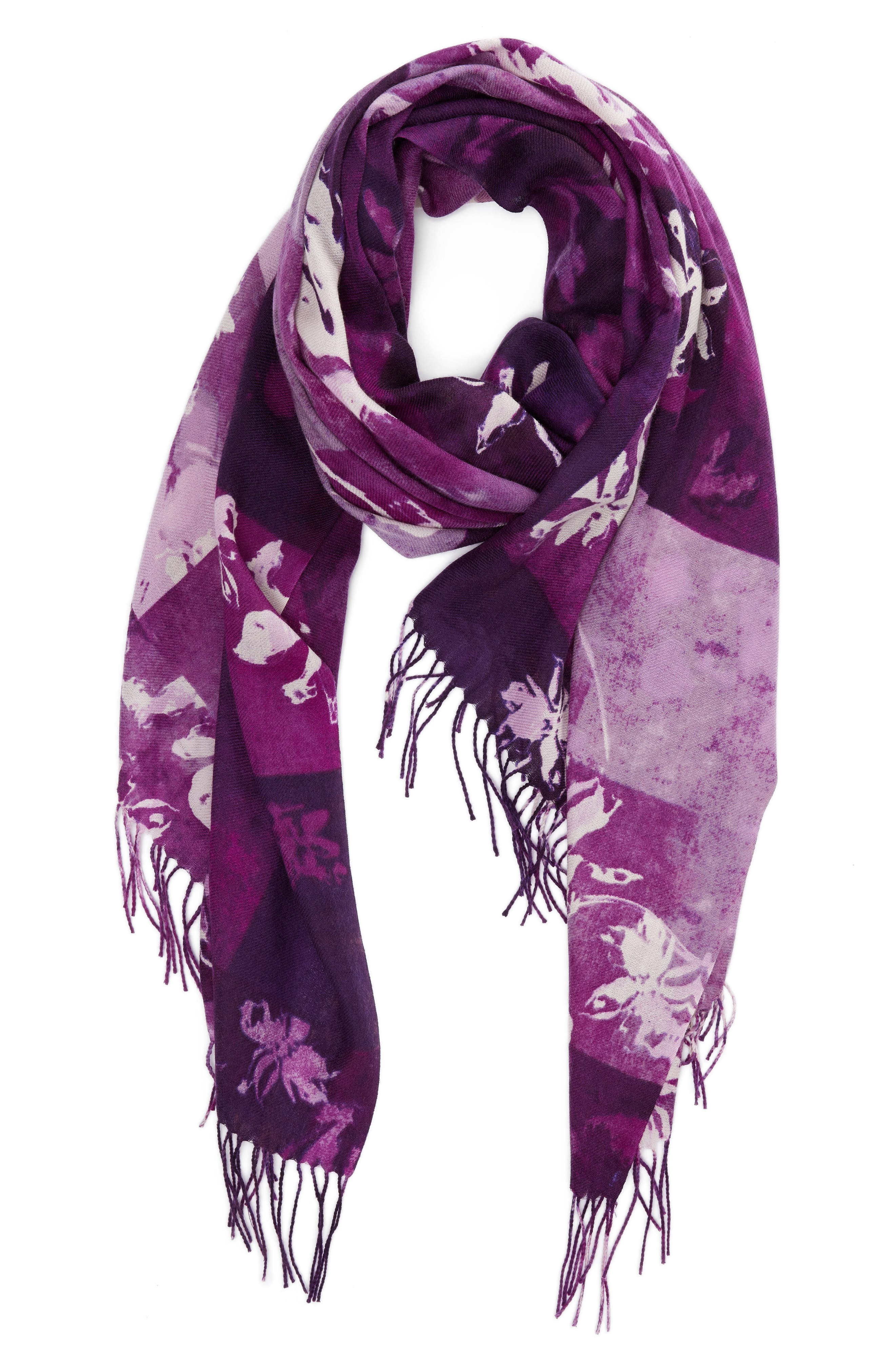 Solar Patchwork Tissue Wool & Cashmere Scarf,                             Alternate thumbnail 6, color,