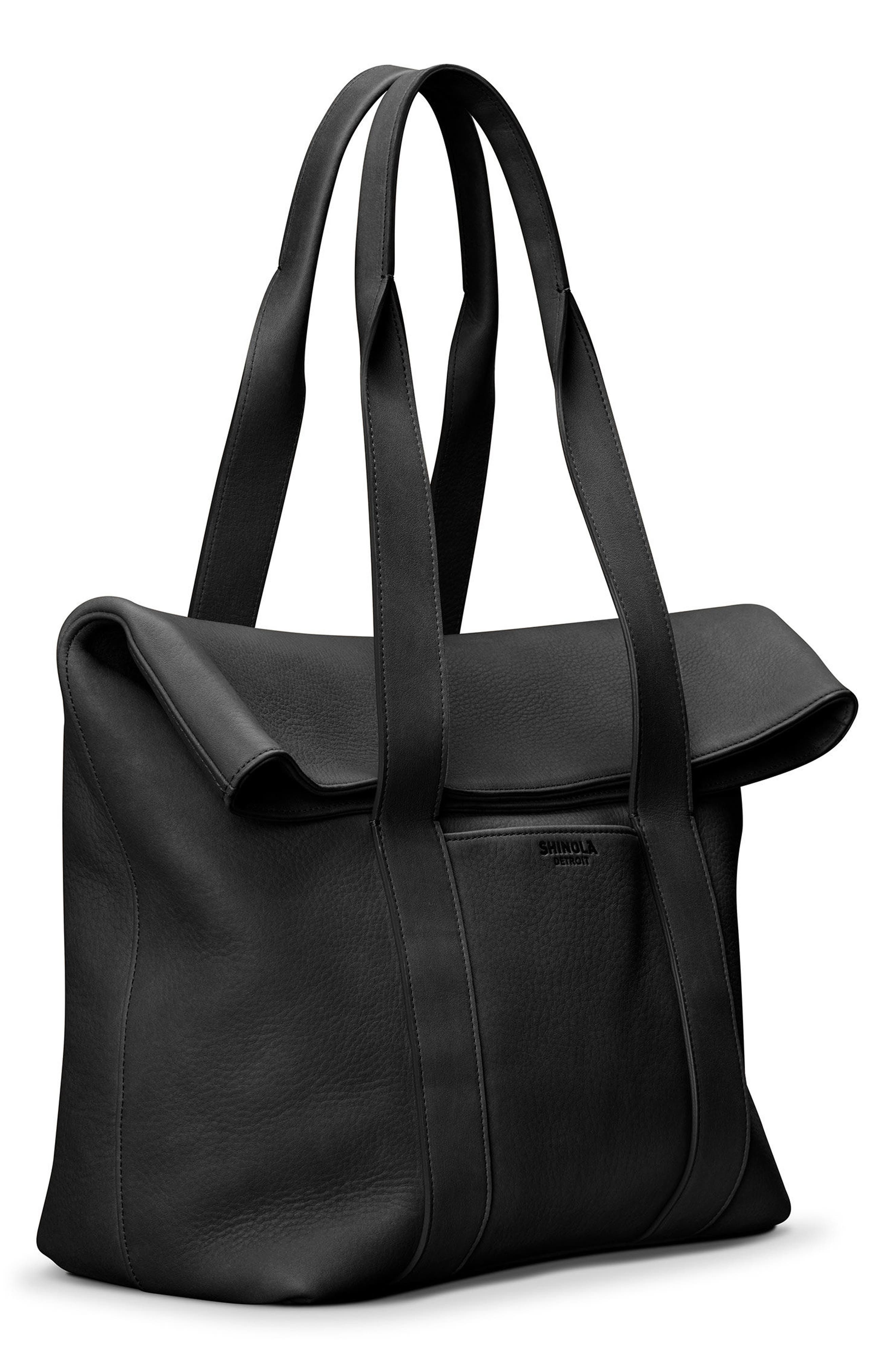 Cass Dearborn Leather Tote,                             Alternate thumbnail 5, color,                             BLACK
