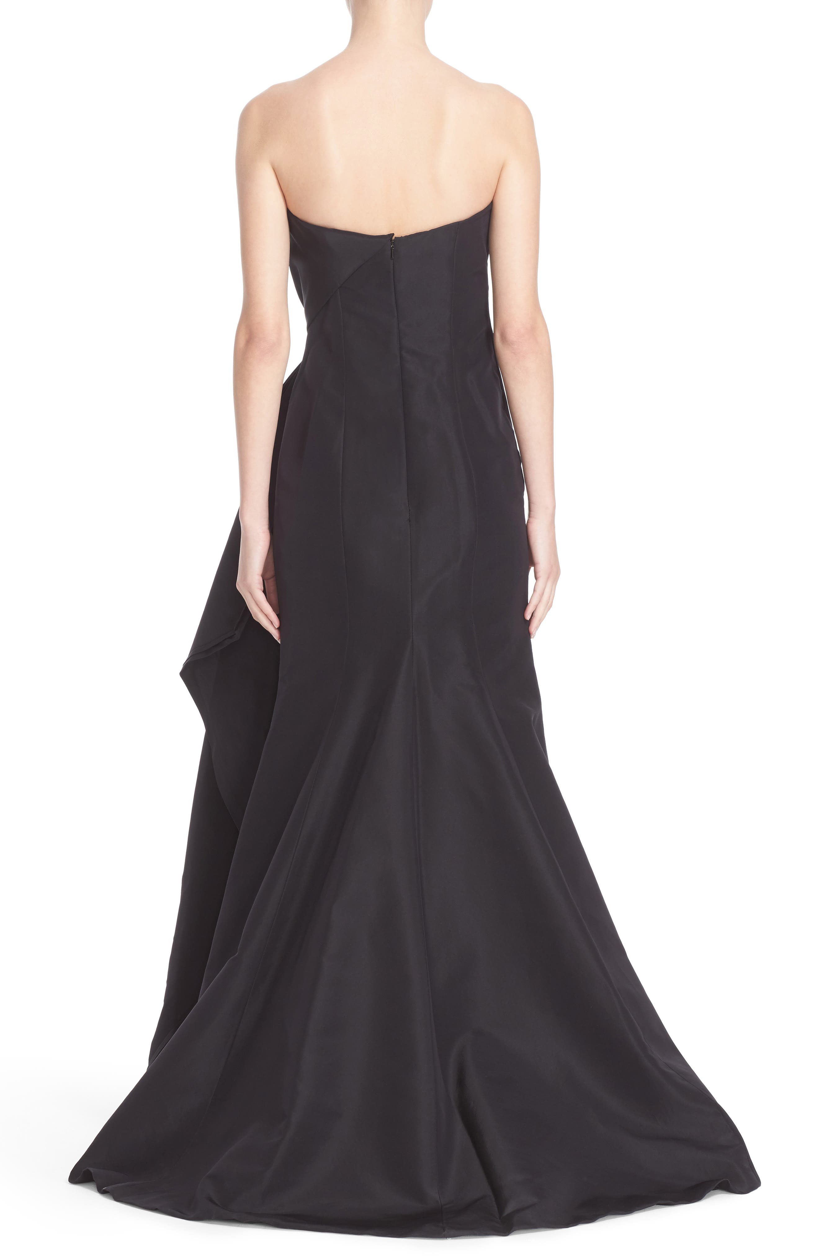 Bow Detail Strapless Silk Faille Gown,                             Alternate thumbnail 2, color,                             001