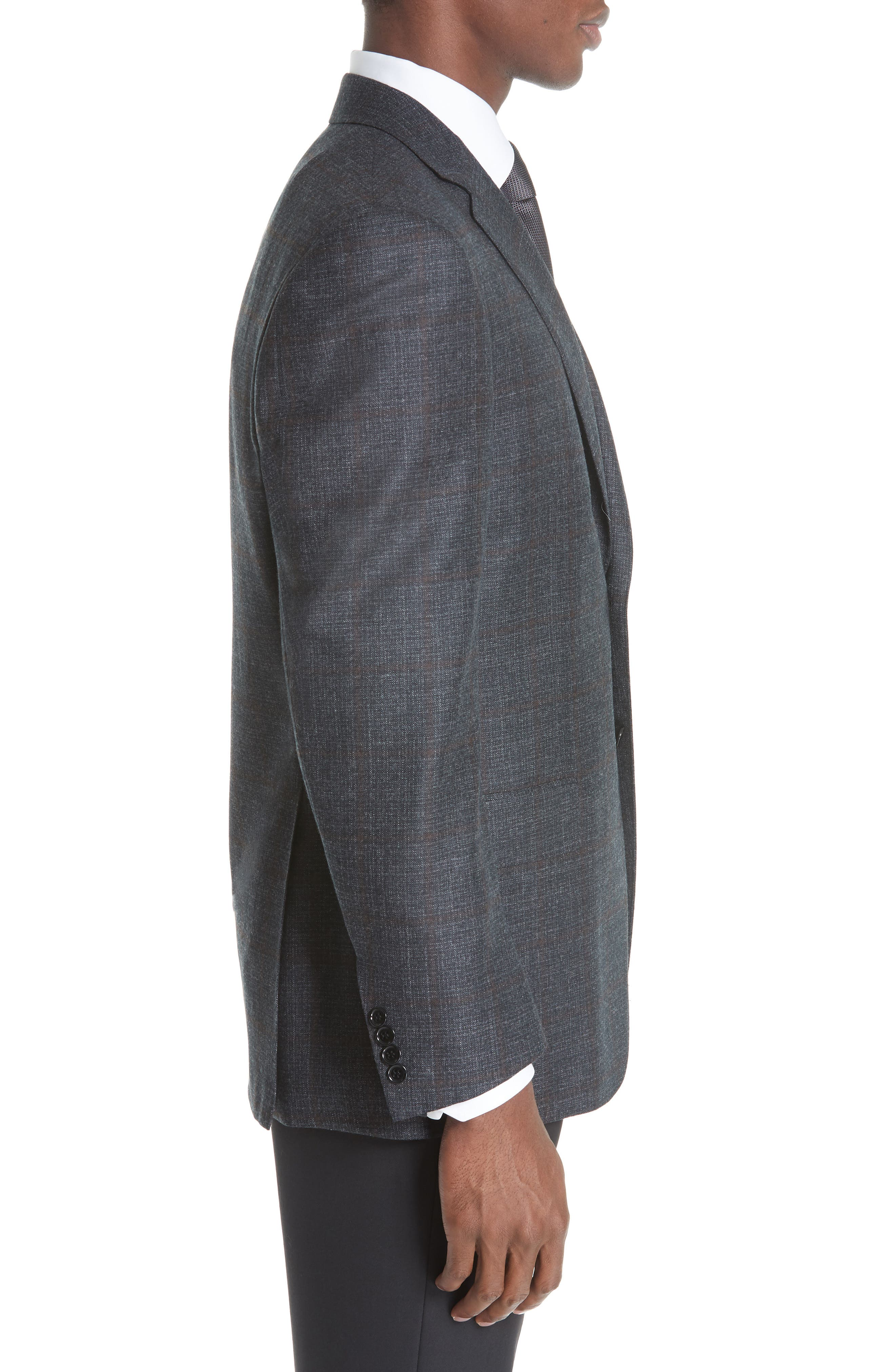 Classic Fit Plaid Wool Sport Coat,                             Alternate thumbnail 3, color,                             CHARCOAL