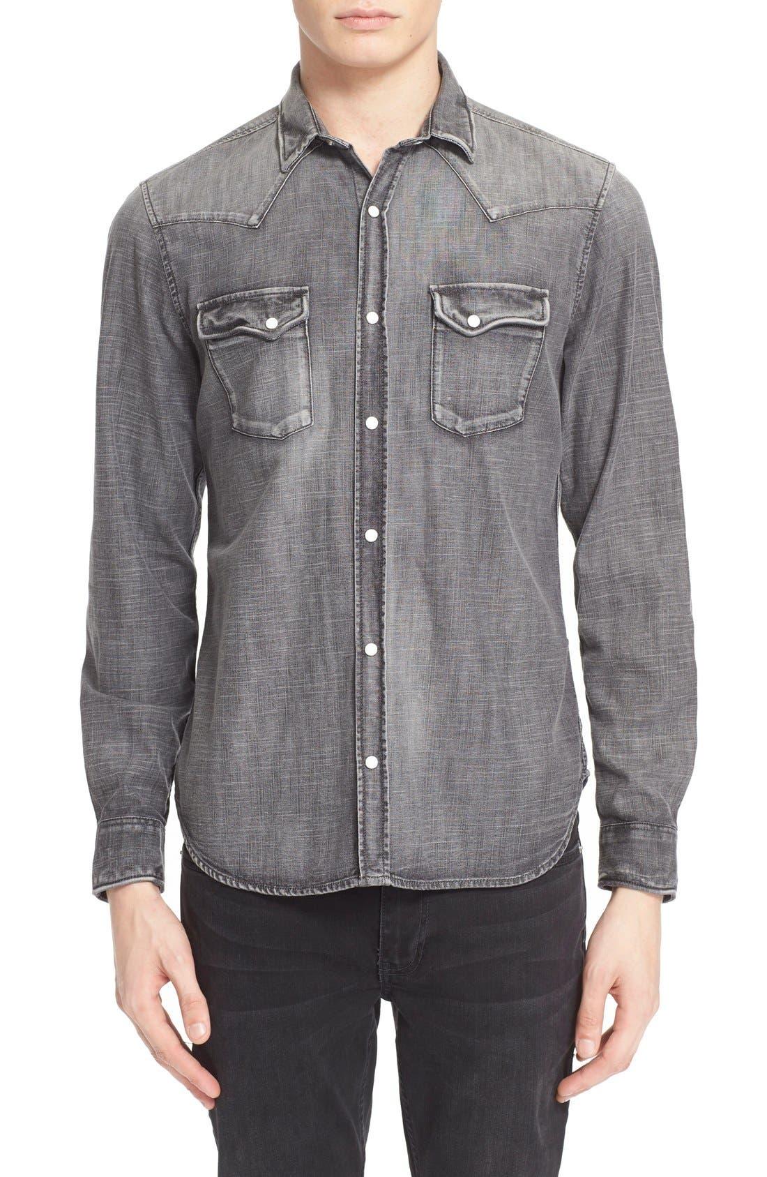 Trim Fit Denim Western Shirt,                         Main,                         color, GREY