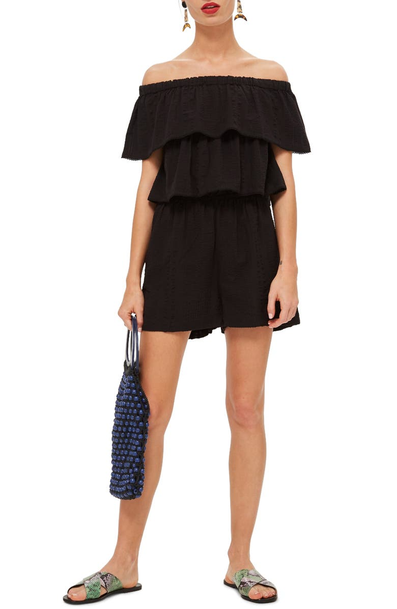 b77515dadff4 Topshop Ruffle Tiered Off the Shoulder Romper