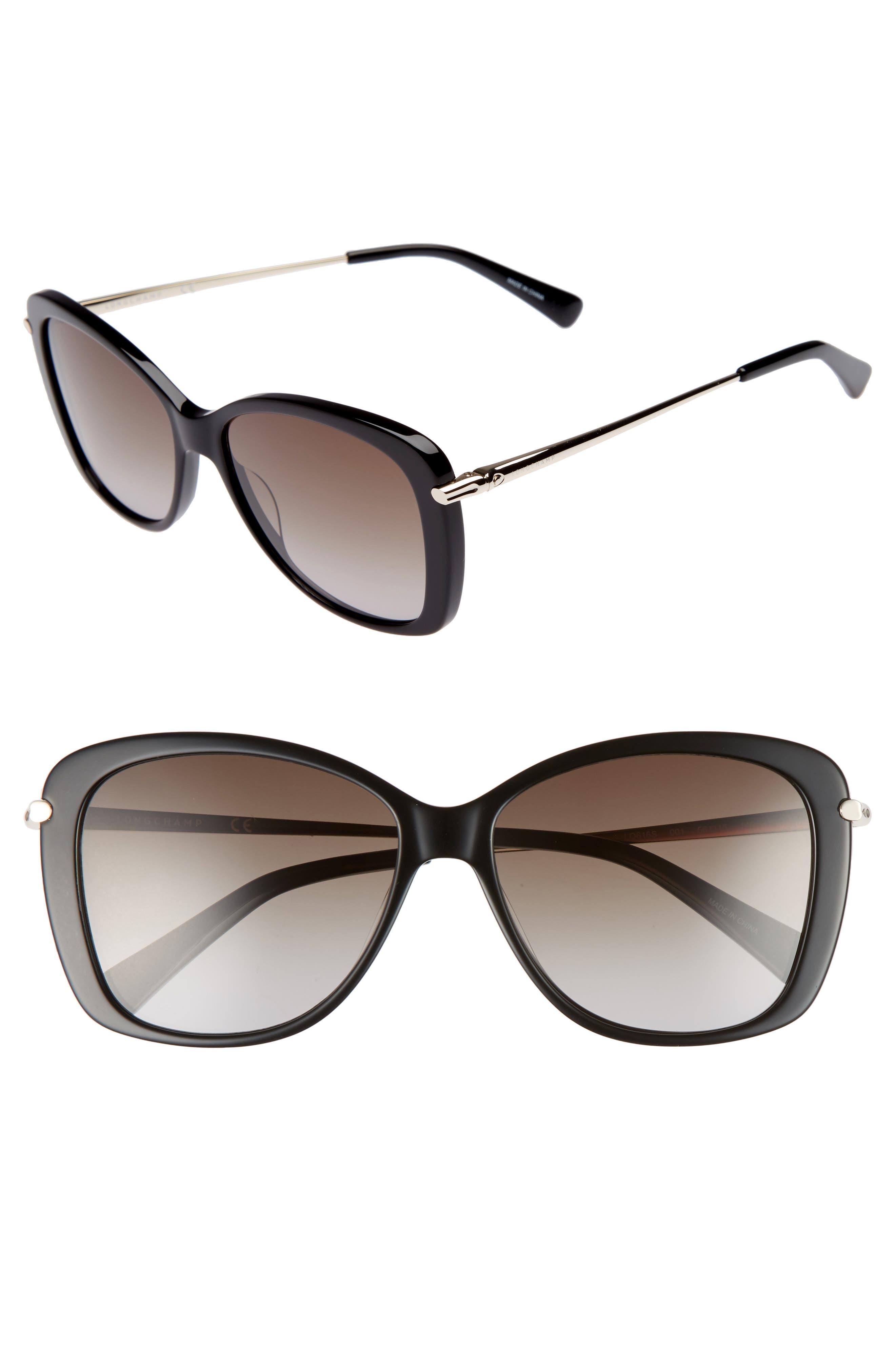 56mm Gradient Lens Butterfly Sunglasses,                             Main thumbnail 1, color,                             BLACK