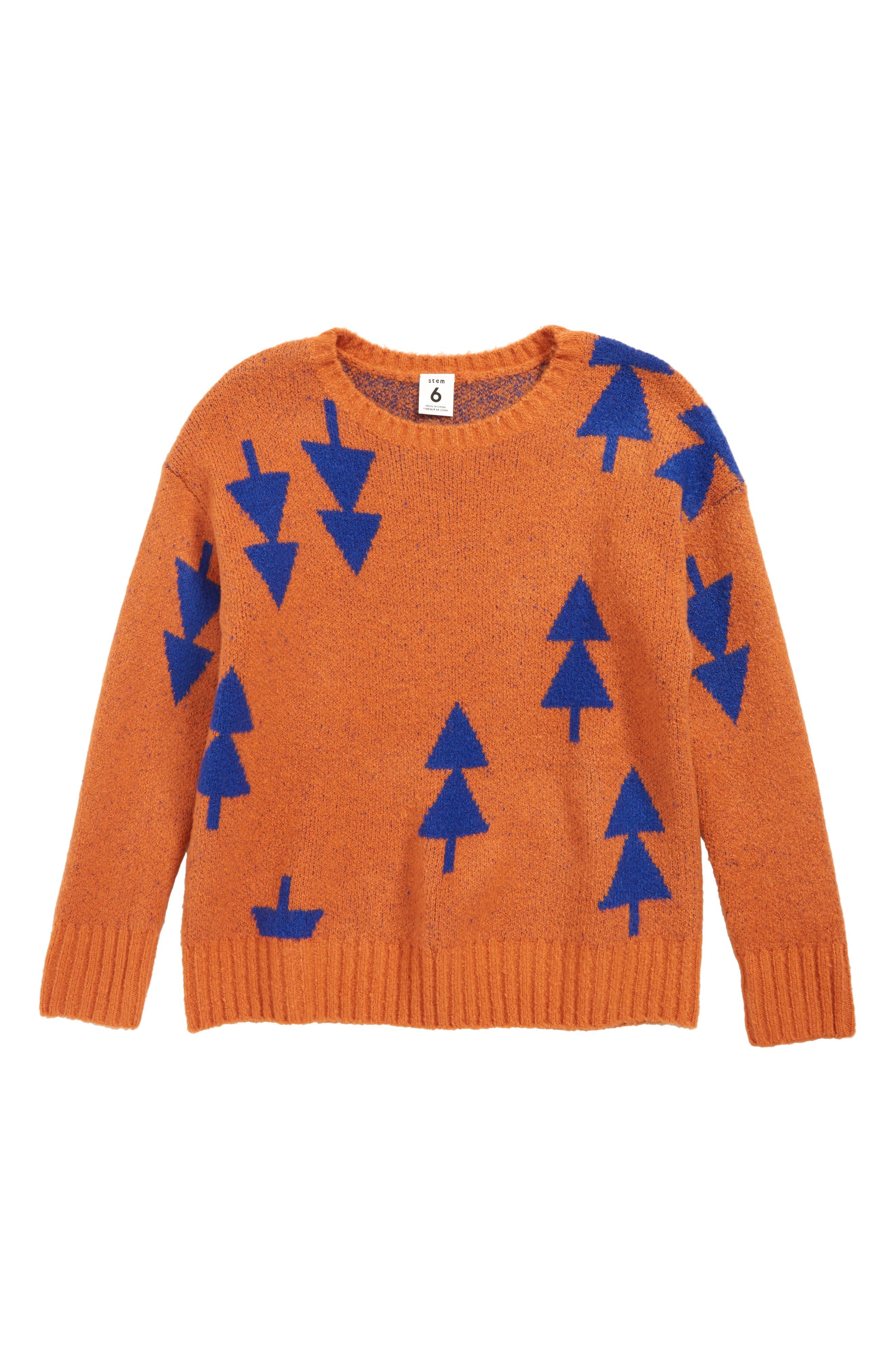 Intarsia Sweater,                         Main,                         color, RUST LEAF- BLUE GEO TREES