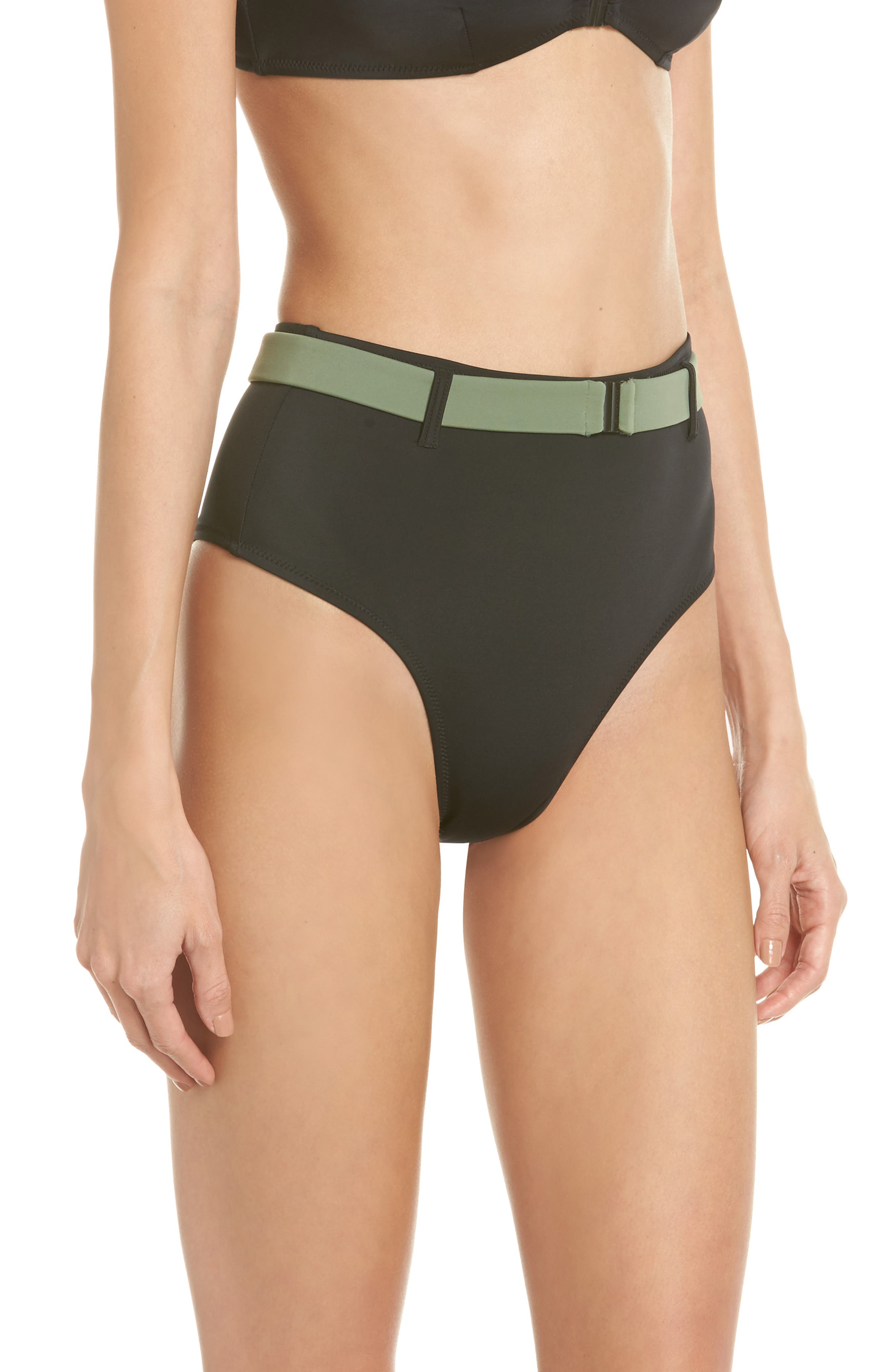 The Josephine High Waist Bikini Bottoms,                             Alternate thumbnail 3, color,                             001