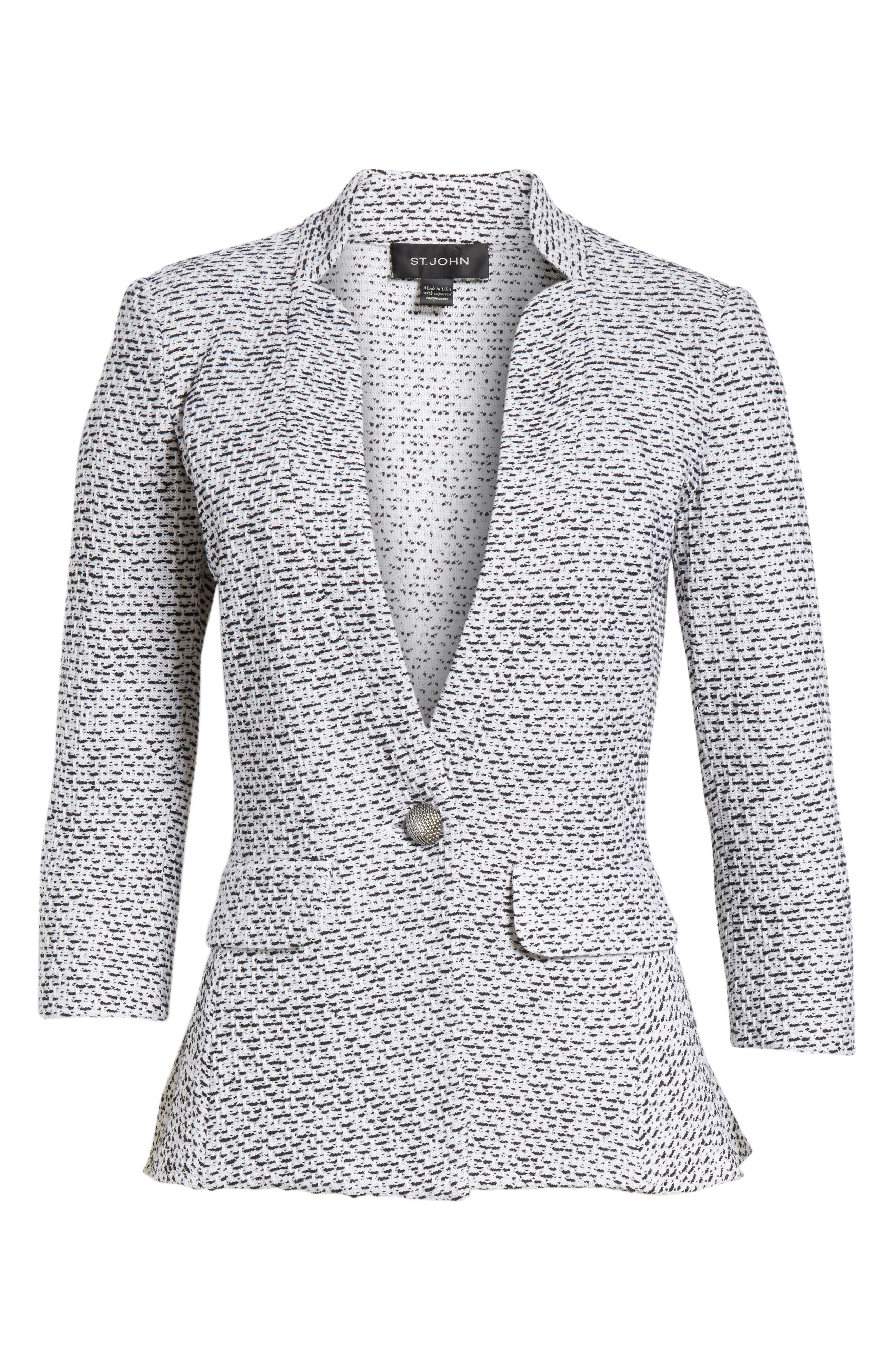 Olivia Bouclé Knit Jacket,                             Alternate thumbnail 6, color,                             WHITE/ CAVIAR