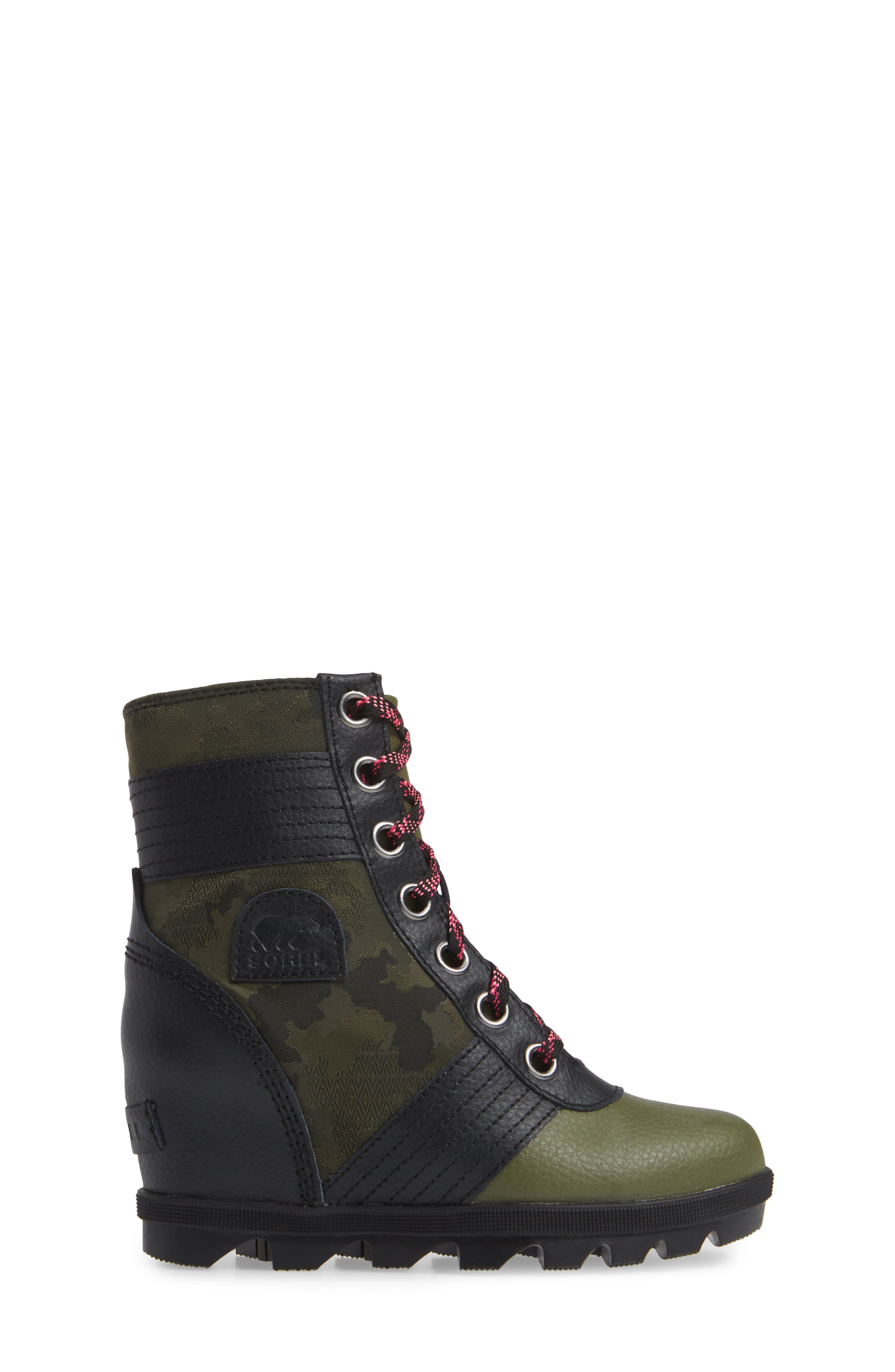 Lexie Waterproof Wedge Bootie,                             Alternate thumbnail 3, color,                             HIKER GREEN/ BLACK