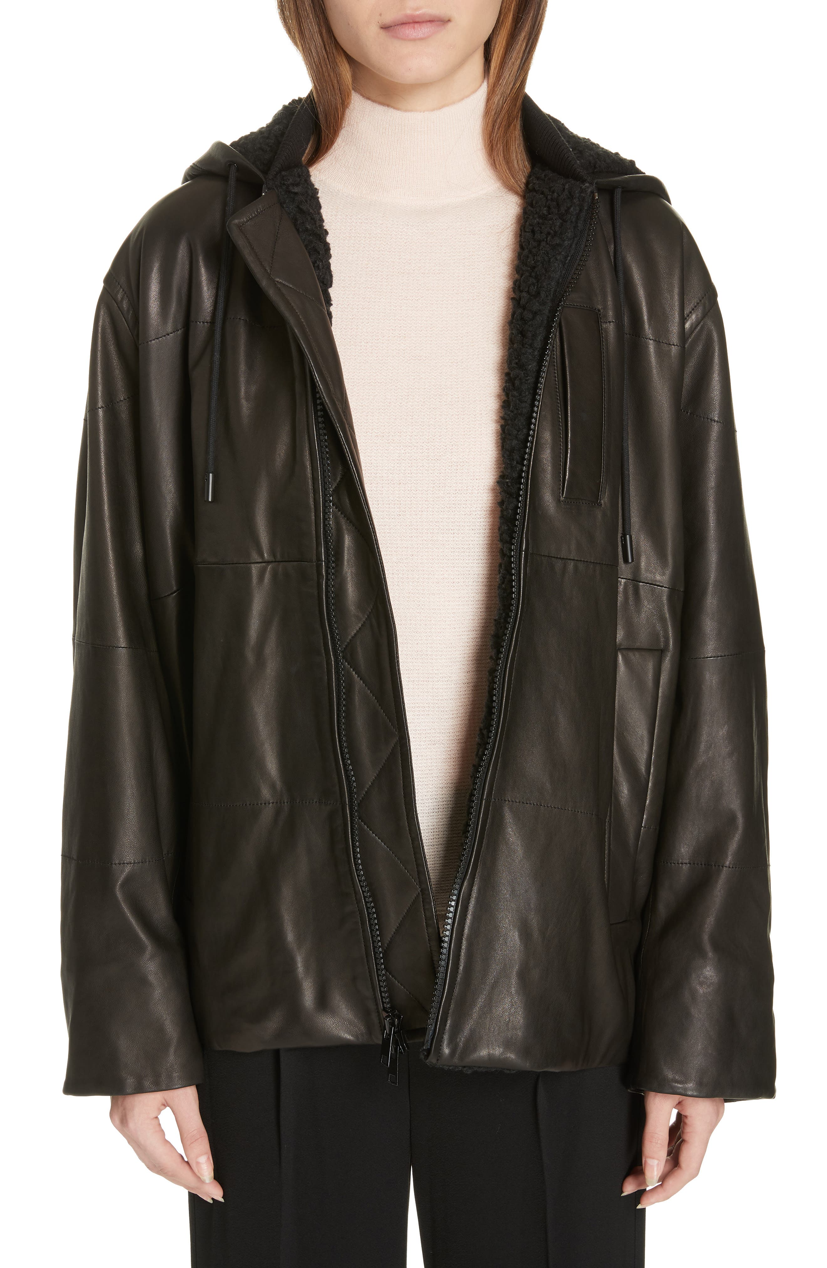 Oversized Zip-Front Leather Puffer Jacket in Black