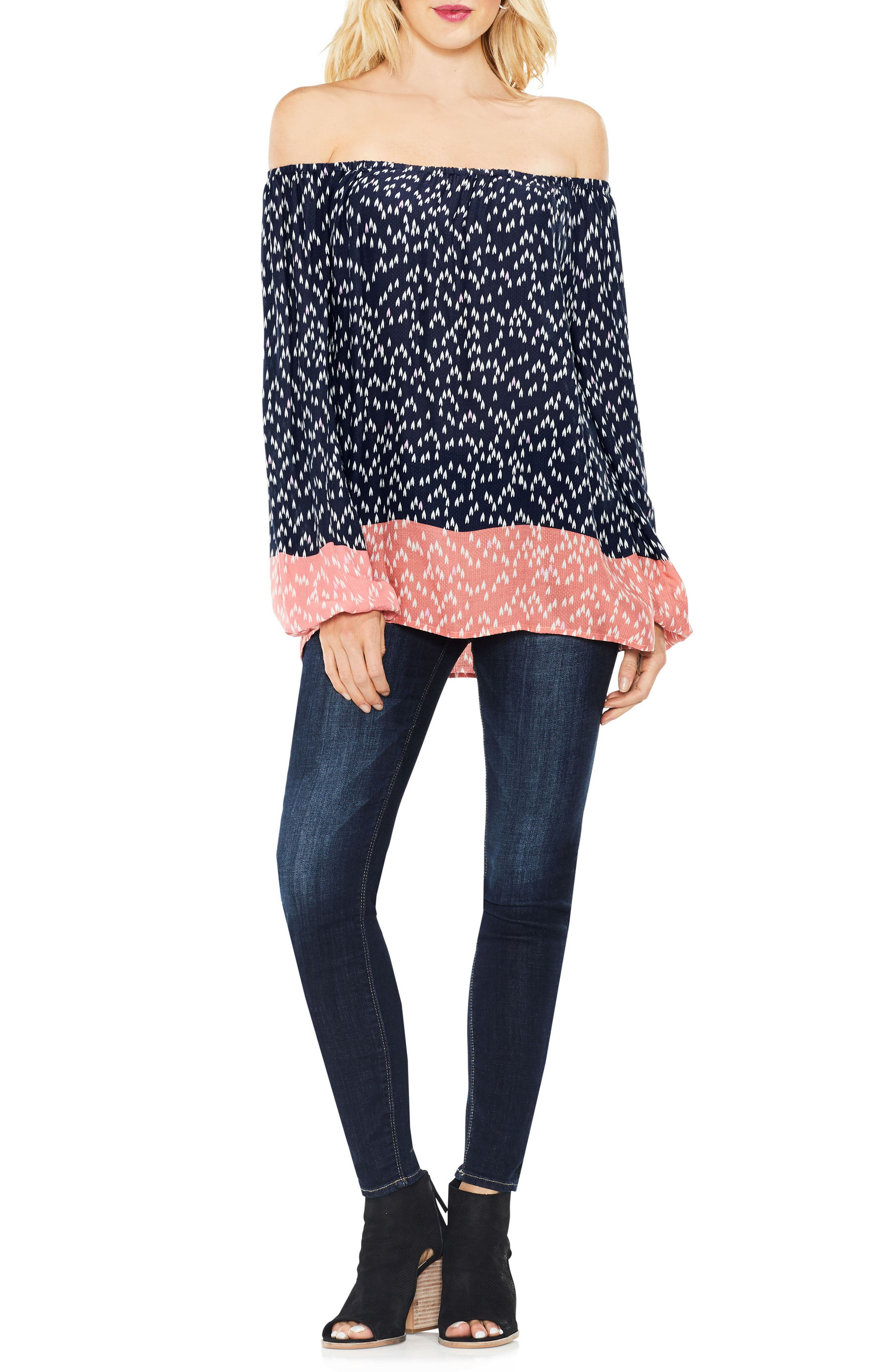 Two by Vince Camuto Off the Shoulder Scatter Arrow Blouse,                             Alternate thumbnail 4, color,                             430