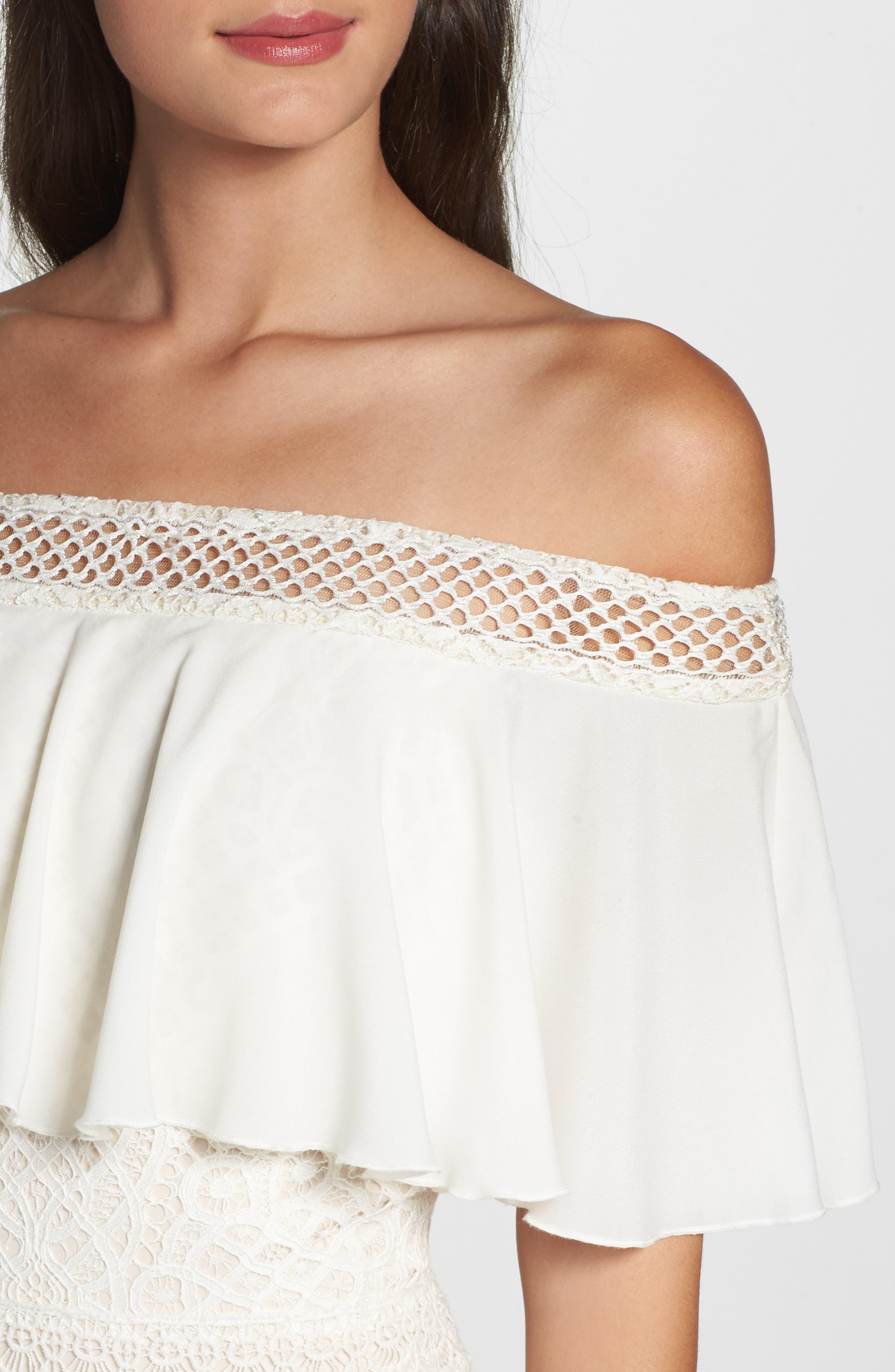 Off the Shoulder Crochet Gown,                             Alternate thumbnail 4, color,                             IVORY/ PRIMROSE