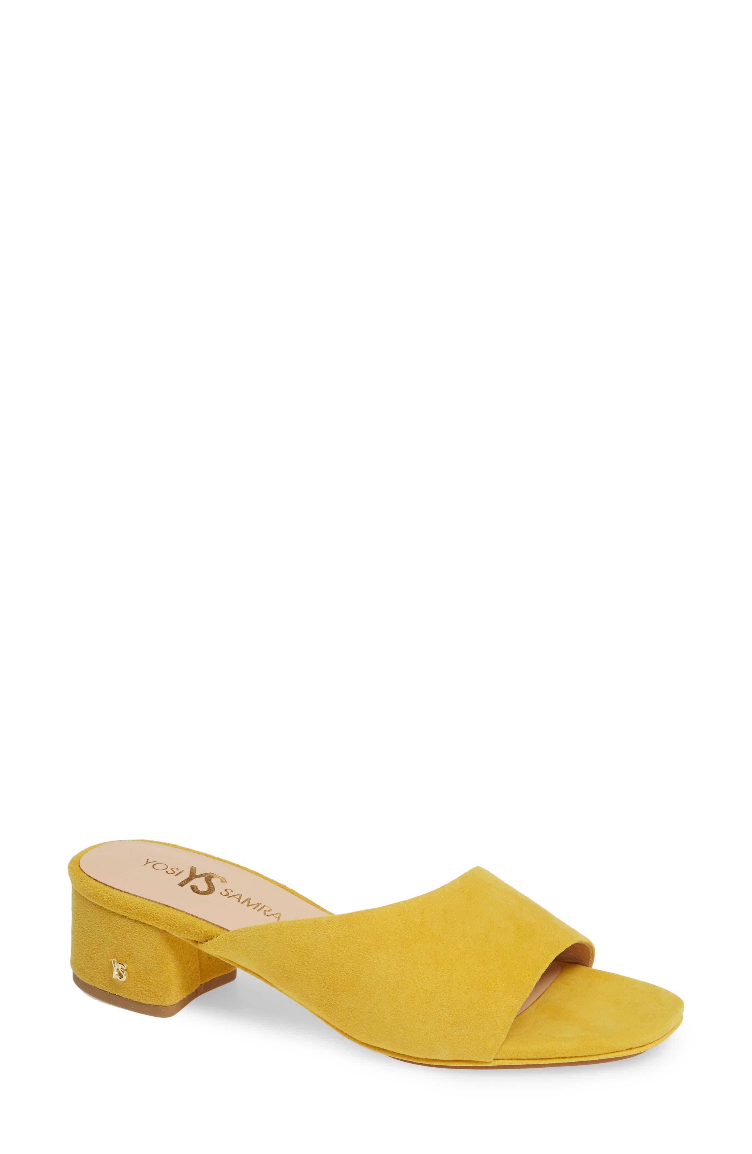 YOSI SAMRA Dante Slide Sandal in Yellow Suede