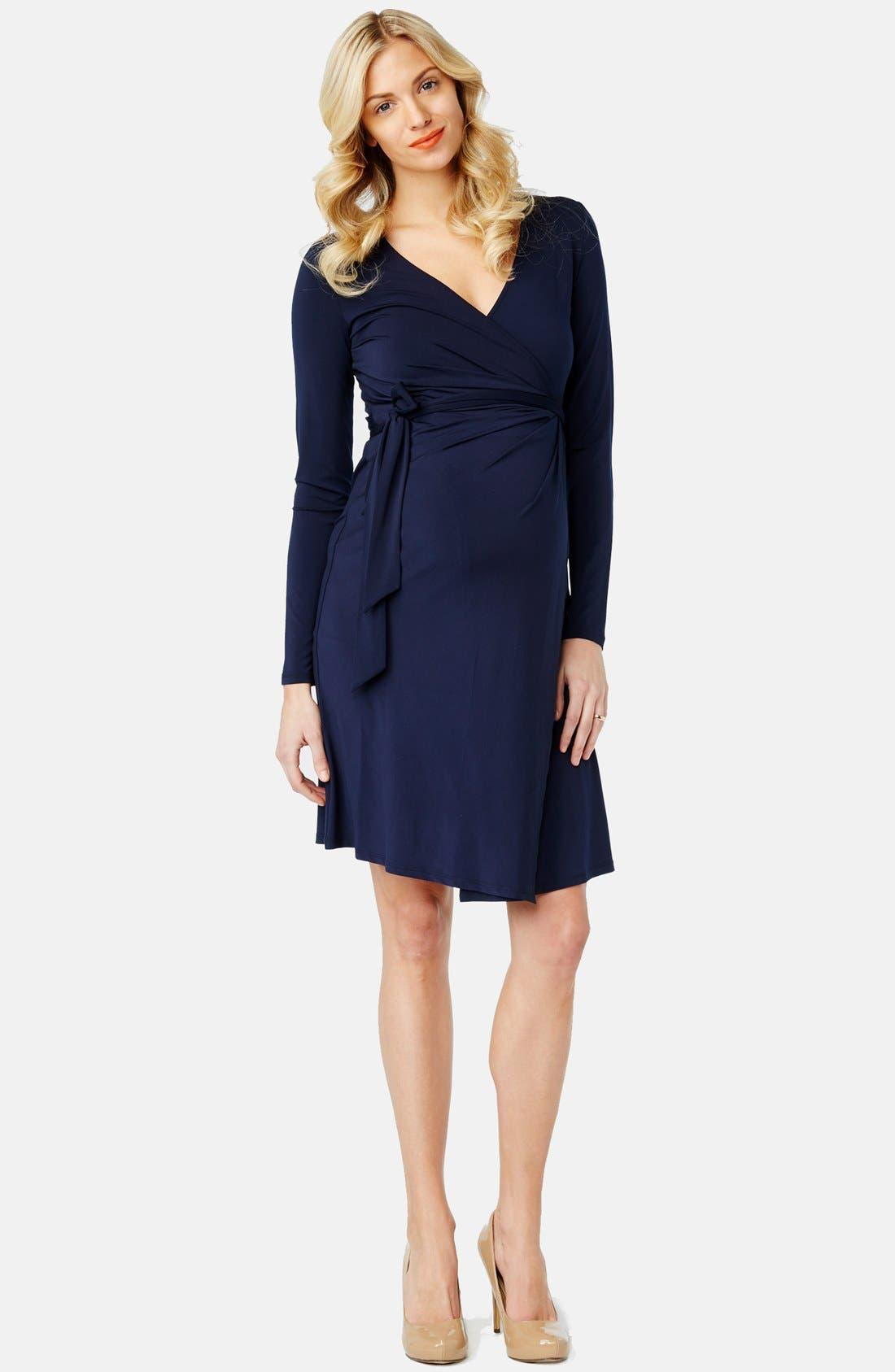 Wrap Maternity Dress,                         Main,                         color, NAVY