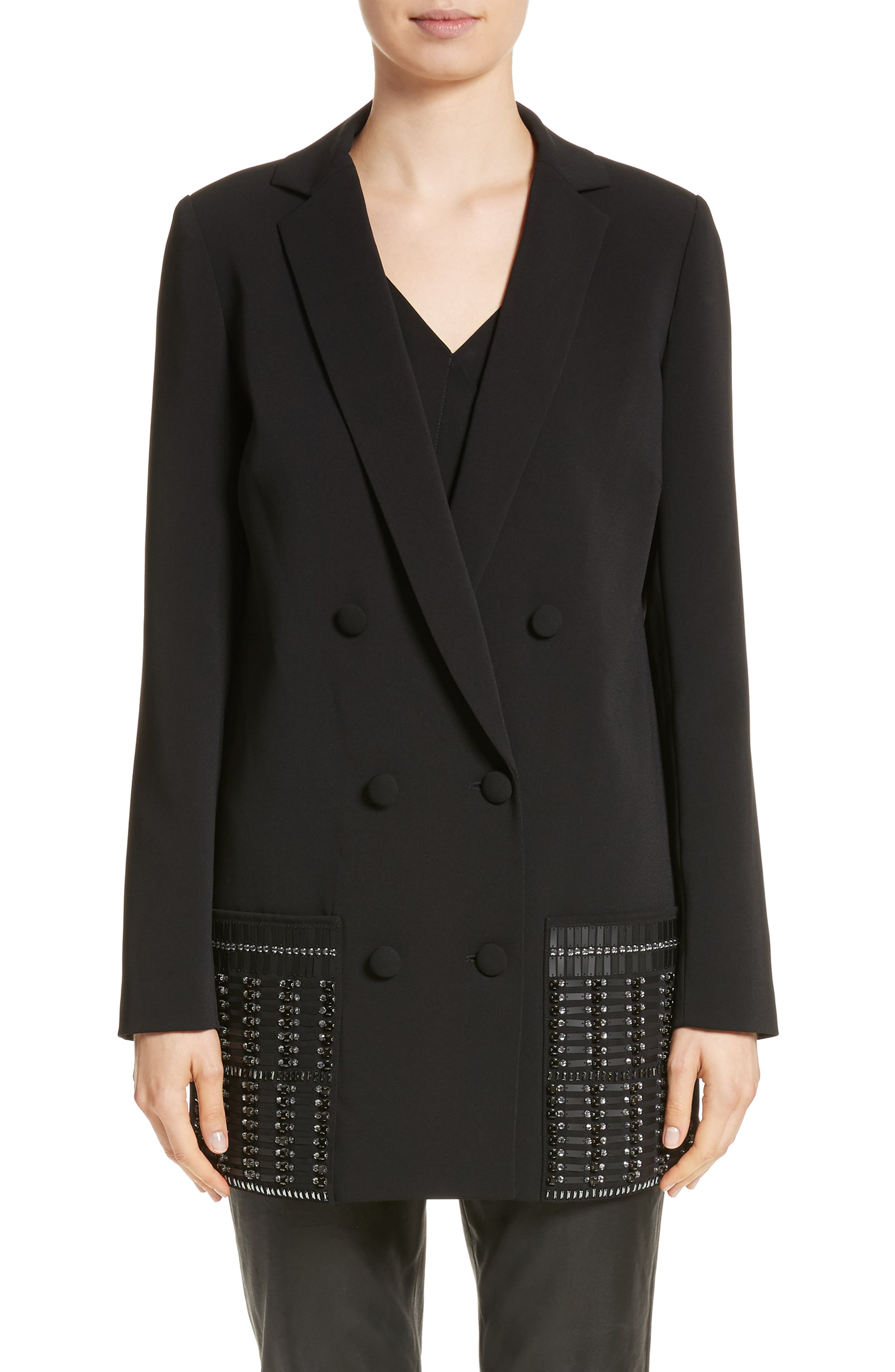 Beaded Double Breasted Blazer,                             Main thumbnail 1, color,                             001