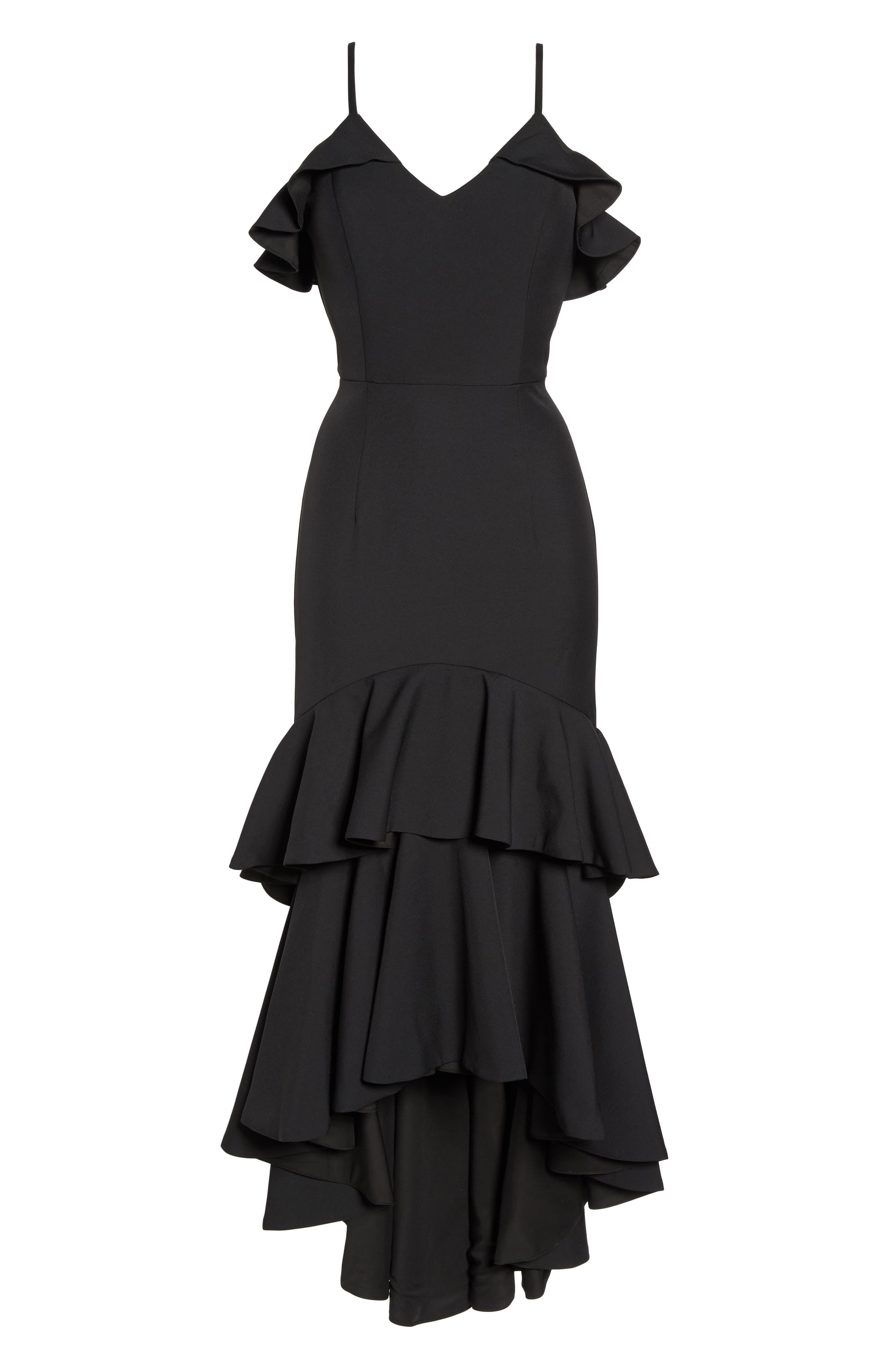 Mina Ruffle Gown,                             Alternate thumbnail 6, color,                             001