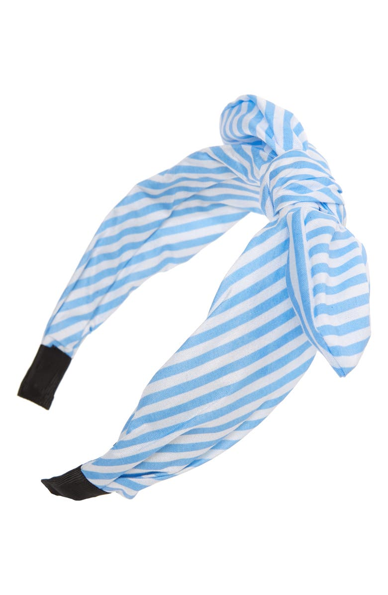 Knotted Stripe Bow Headband,                         Main,                         color, LIGHT BLUE/ WHITE