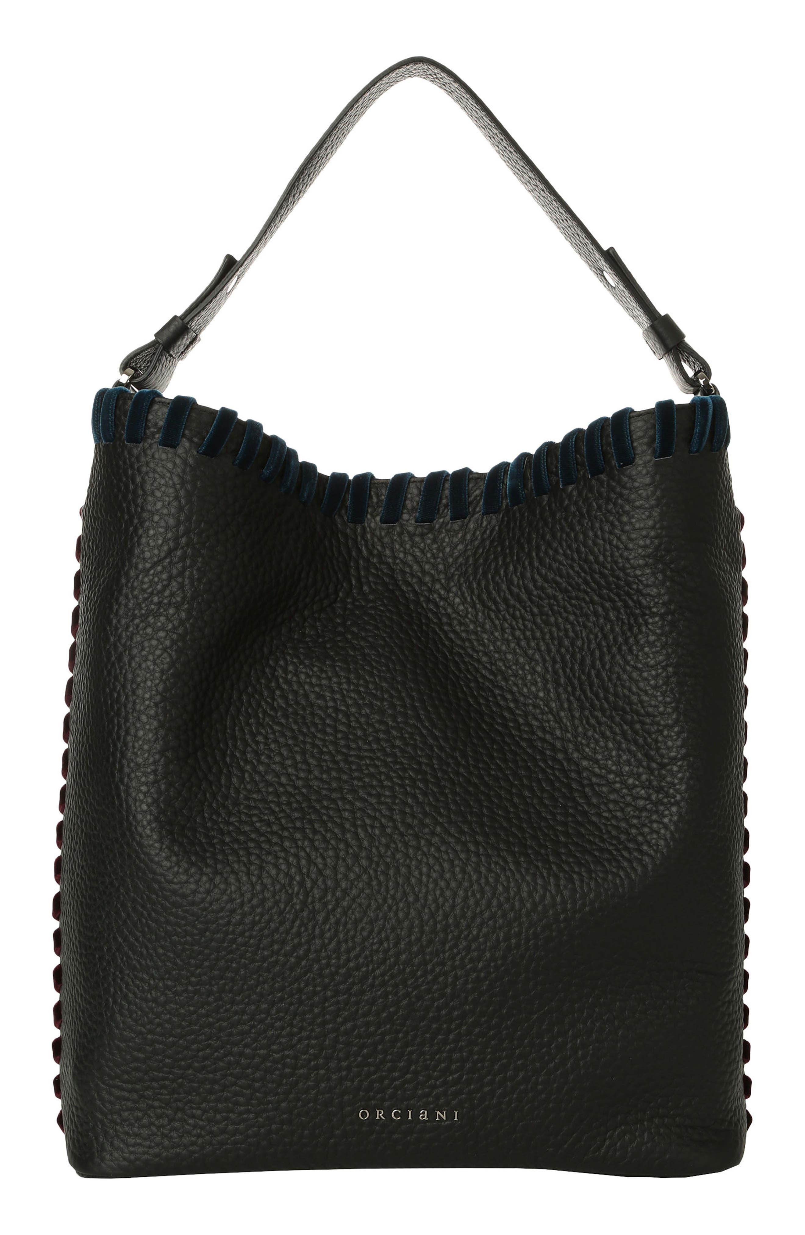 Noona Velvet Trim Calfskin Leather Tote,                         Main,                         color, 001