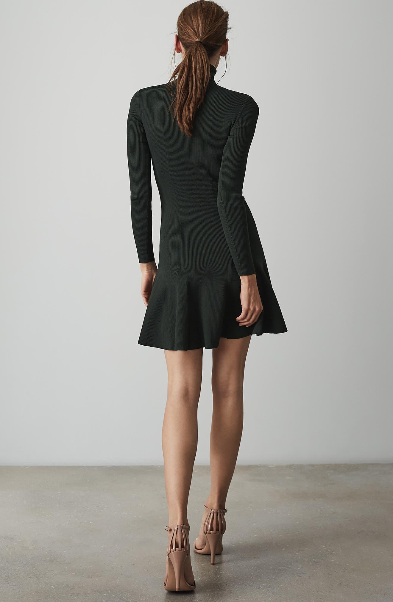 REISS,                             Mimi Turtleneck Sweater Dress,                             Alternate thumbnail 8, color,                             GREEN