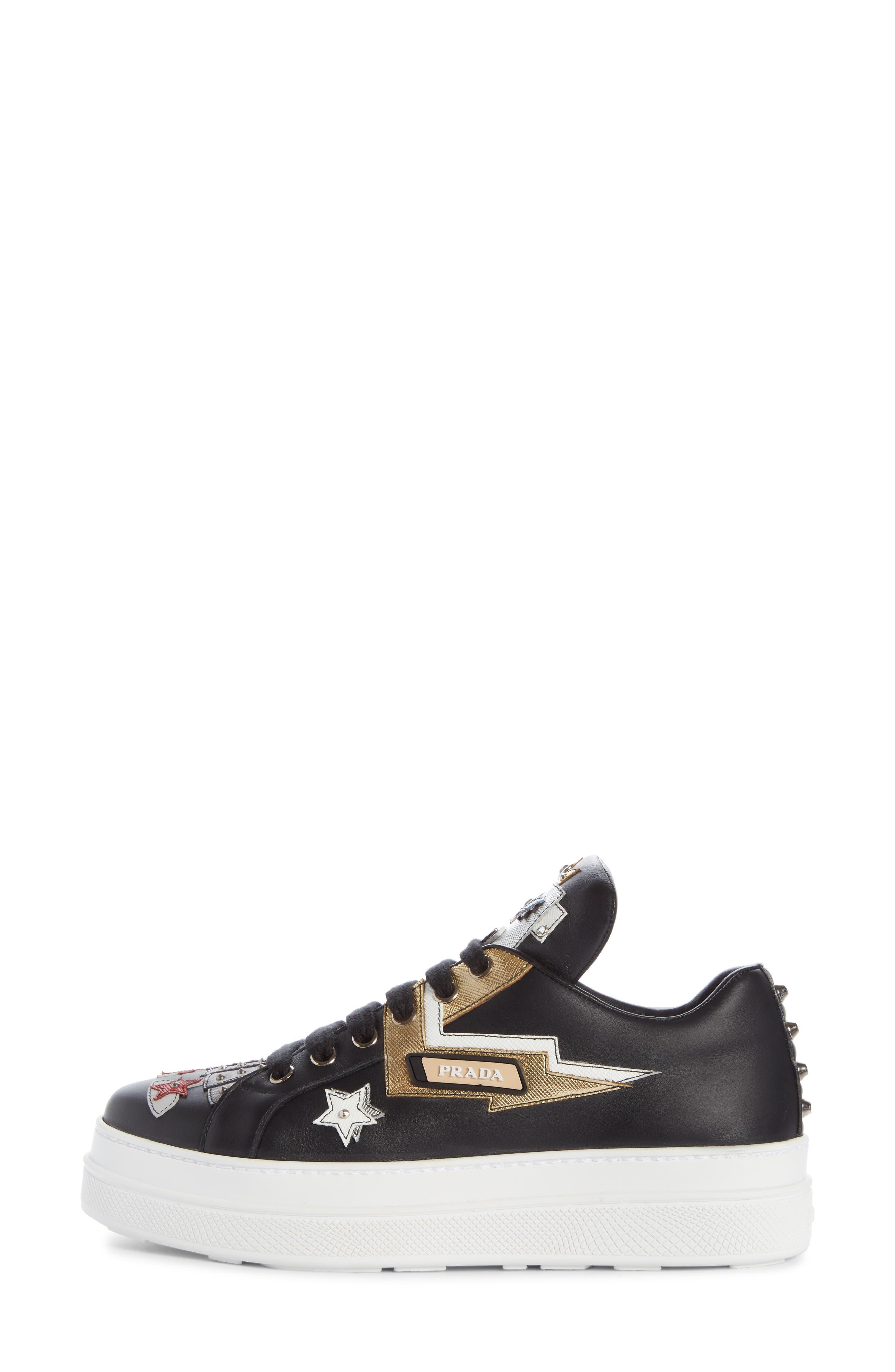 Embellished Platform Sneaker,                             Alternate thumbnail 3, color,                             BLACK/ WHITE