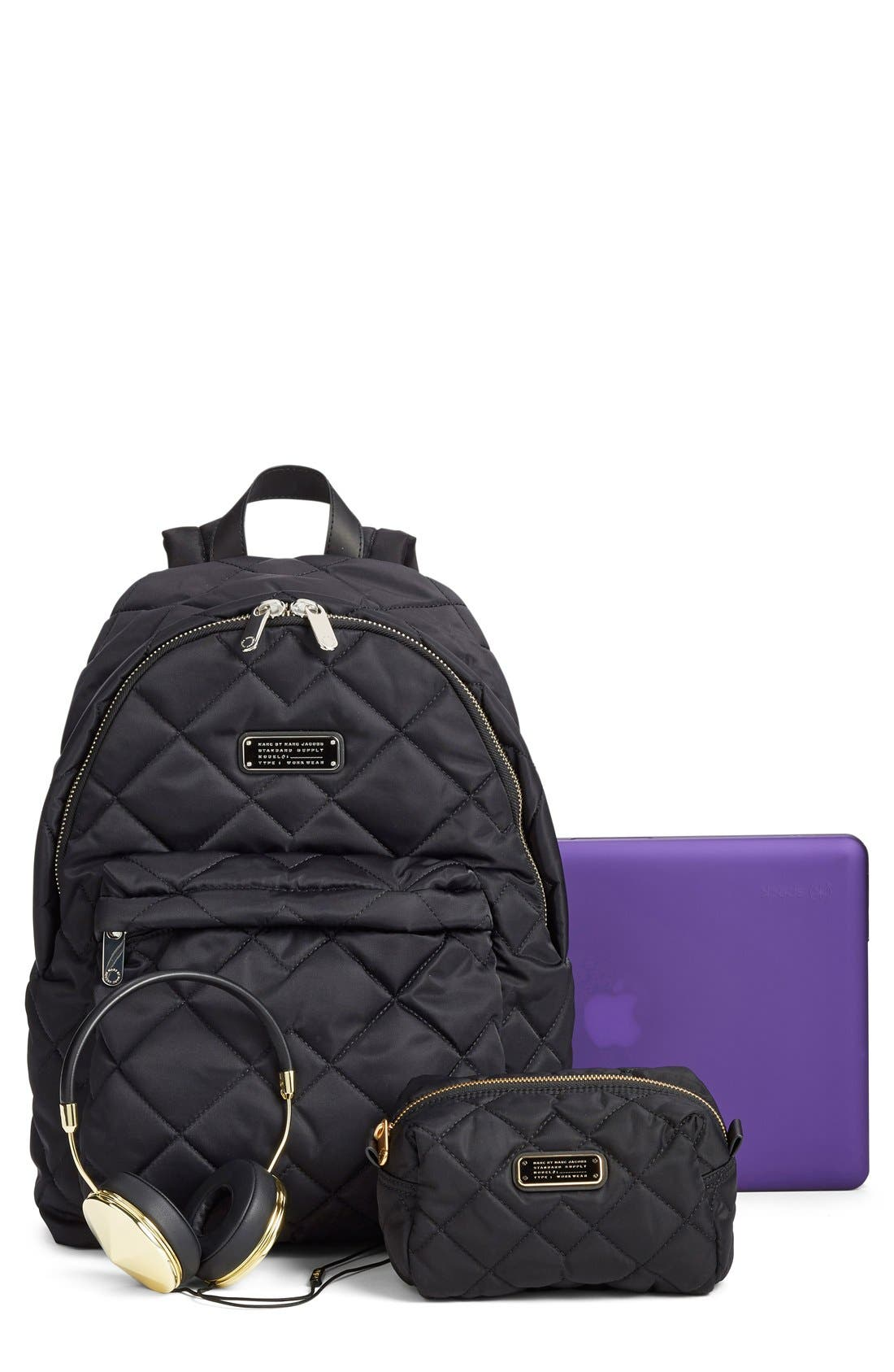 MARC BY MARC JACOBS 'Crosby' Quilted Nylon Backpack,                             Alternate thumbnail 3, color,                             001