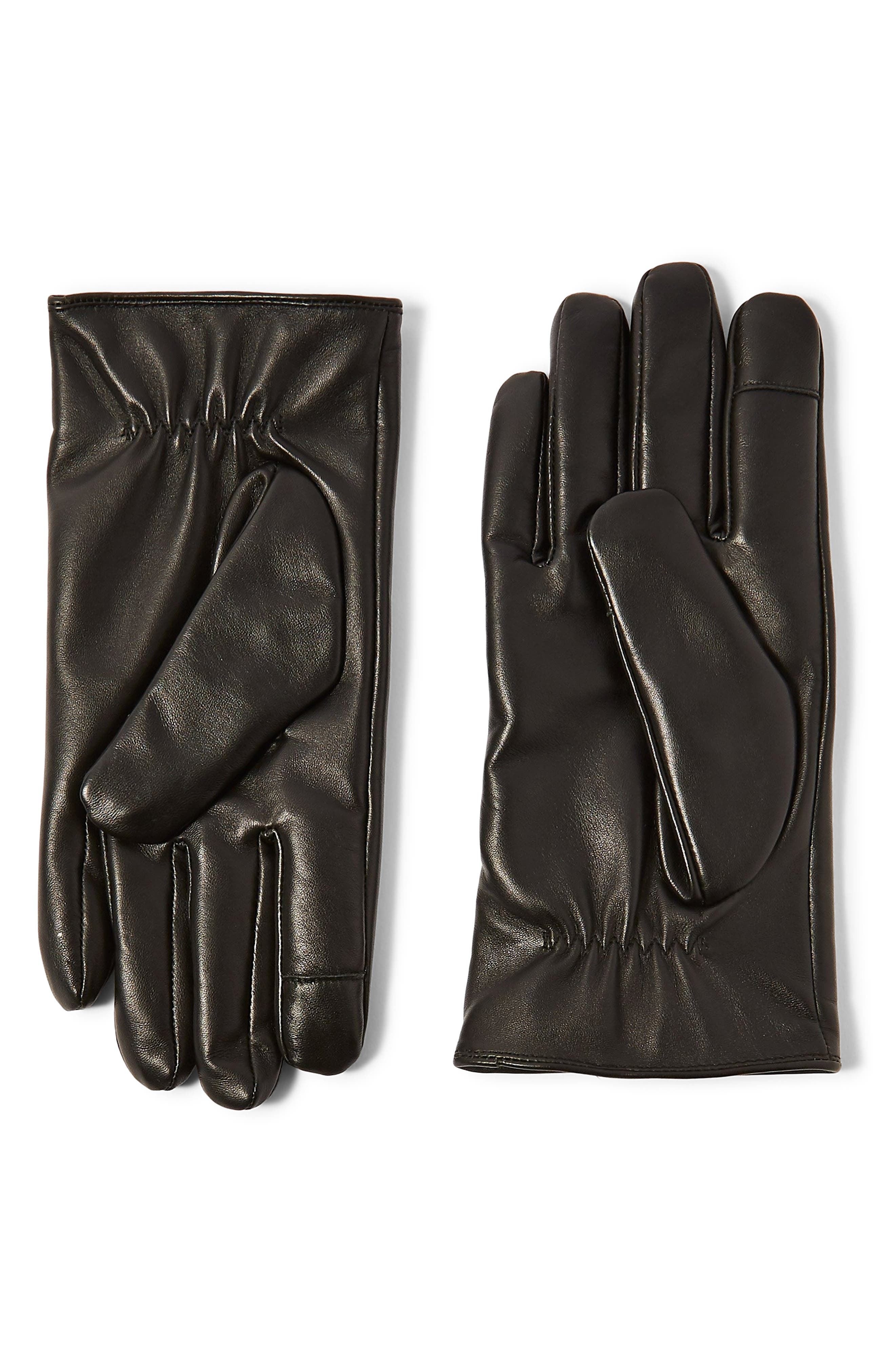 Topman Leather Gloves, Black