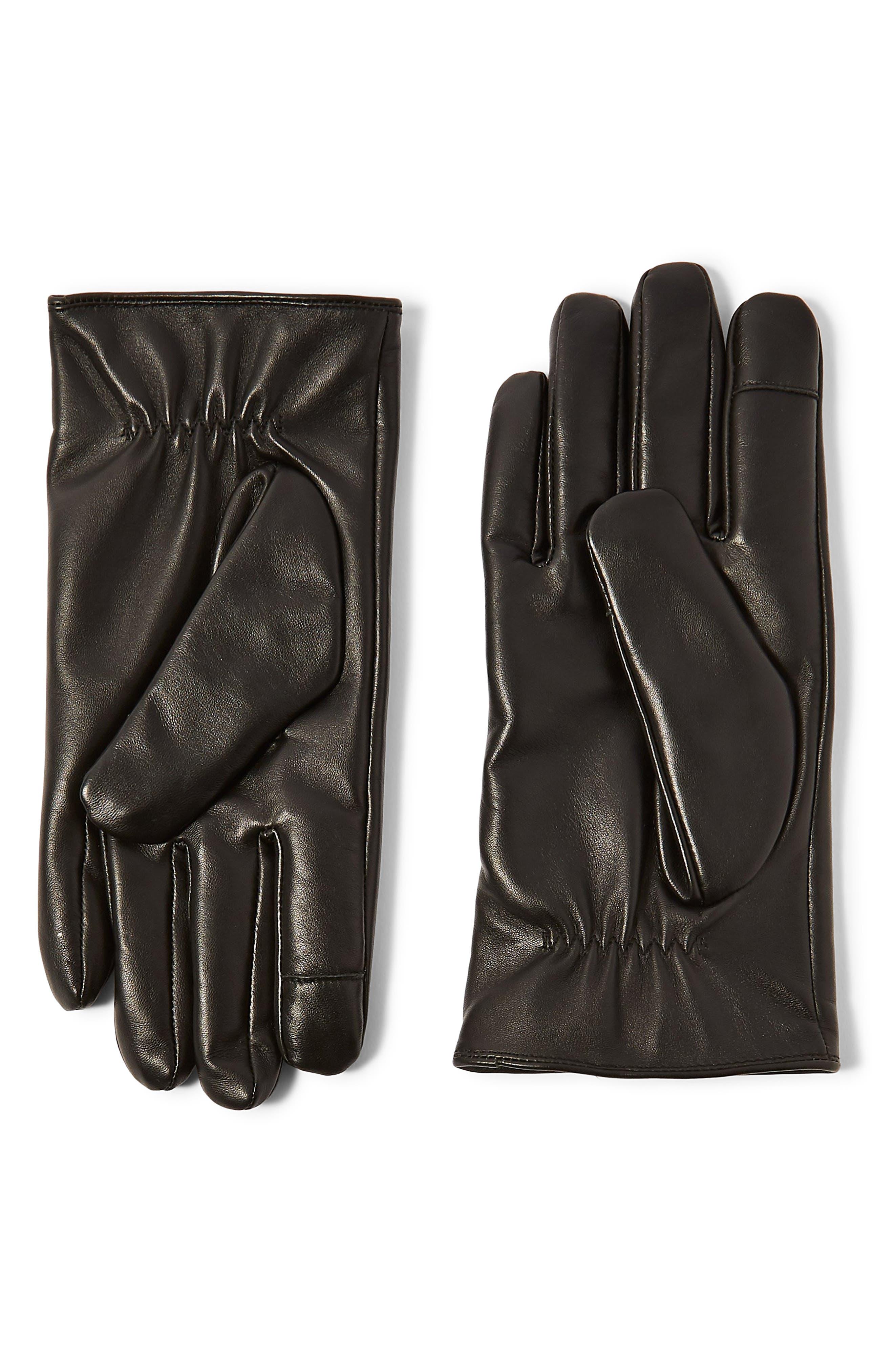 Leather Gloves, Main, color, BLACK