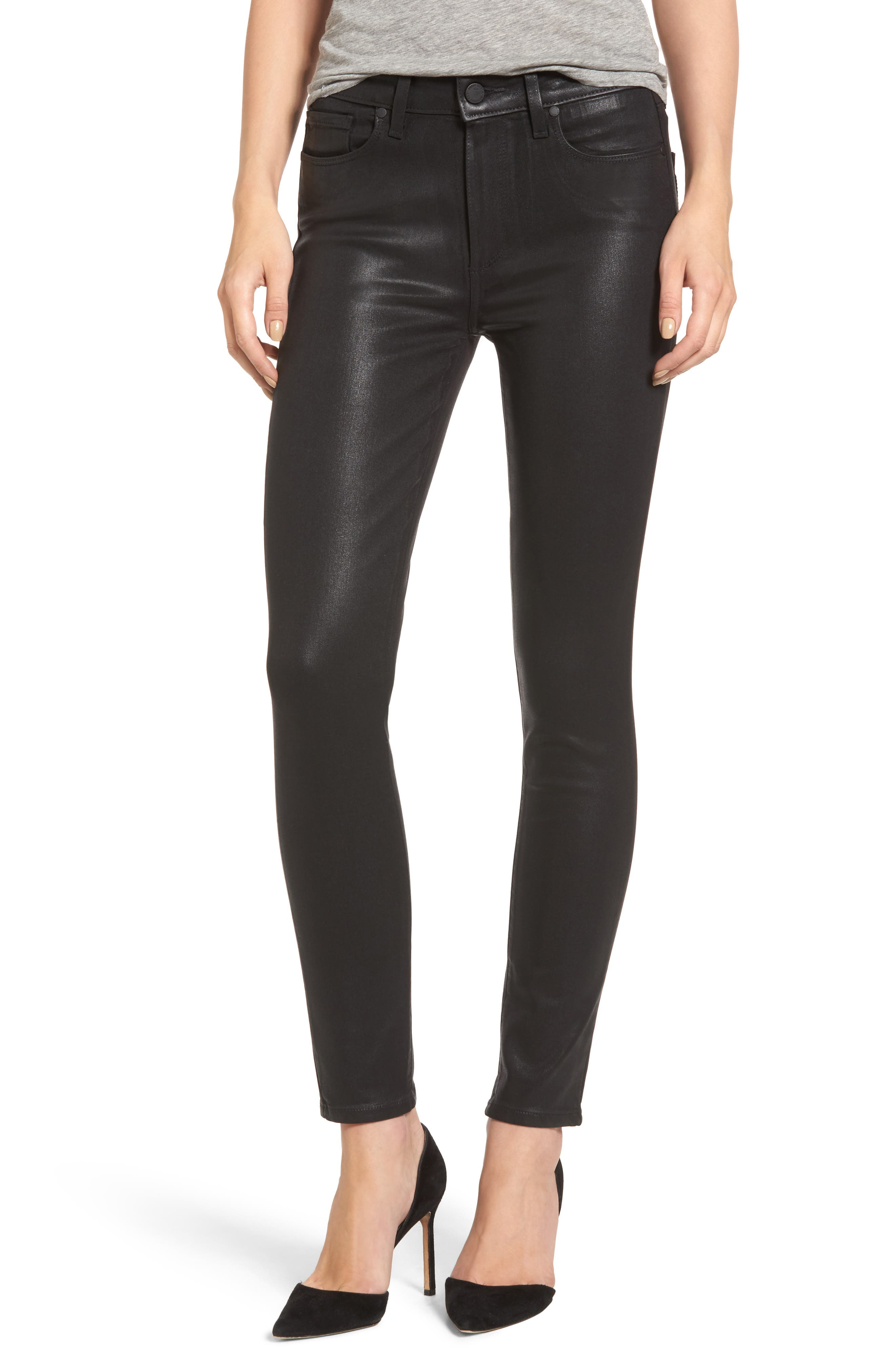 PAIGE Transcend - Hoxton High Waist Ankle Skinny Jeans, Main, color, LUXE BLACK COATED