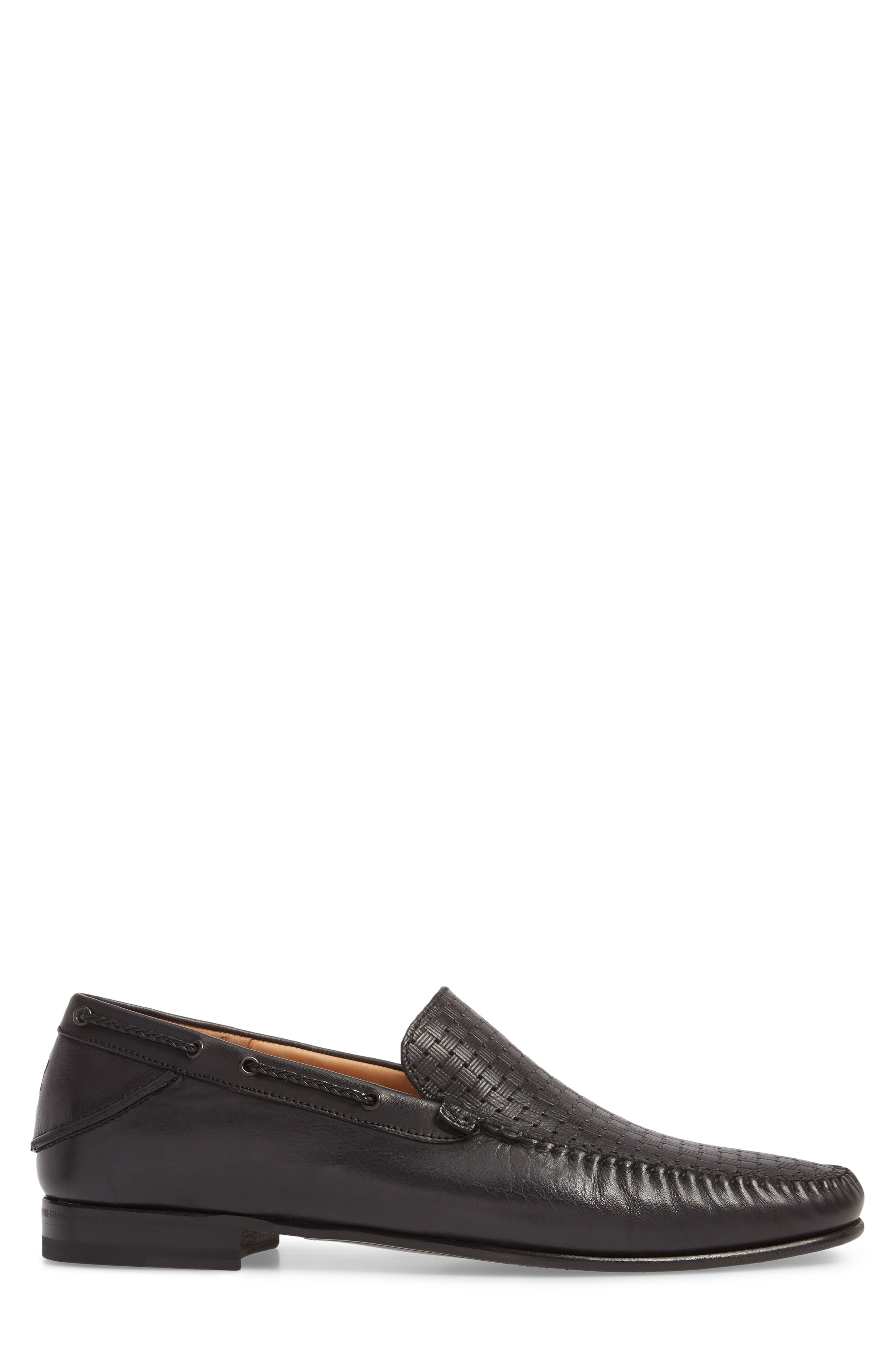 Jano Embossed Moc-Toe Loafer,                             Alternate thumbnail 3, color,                             BLACK LEATHER