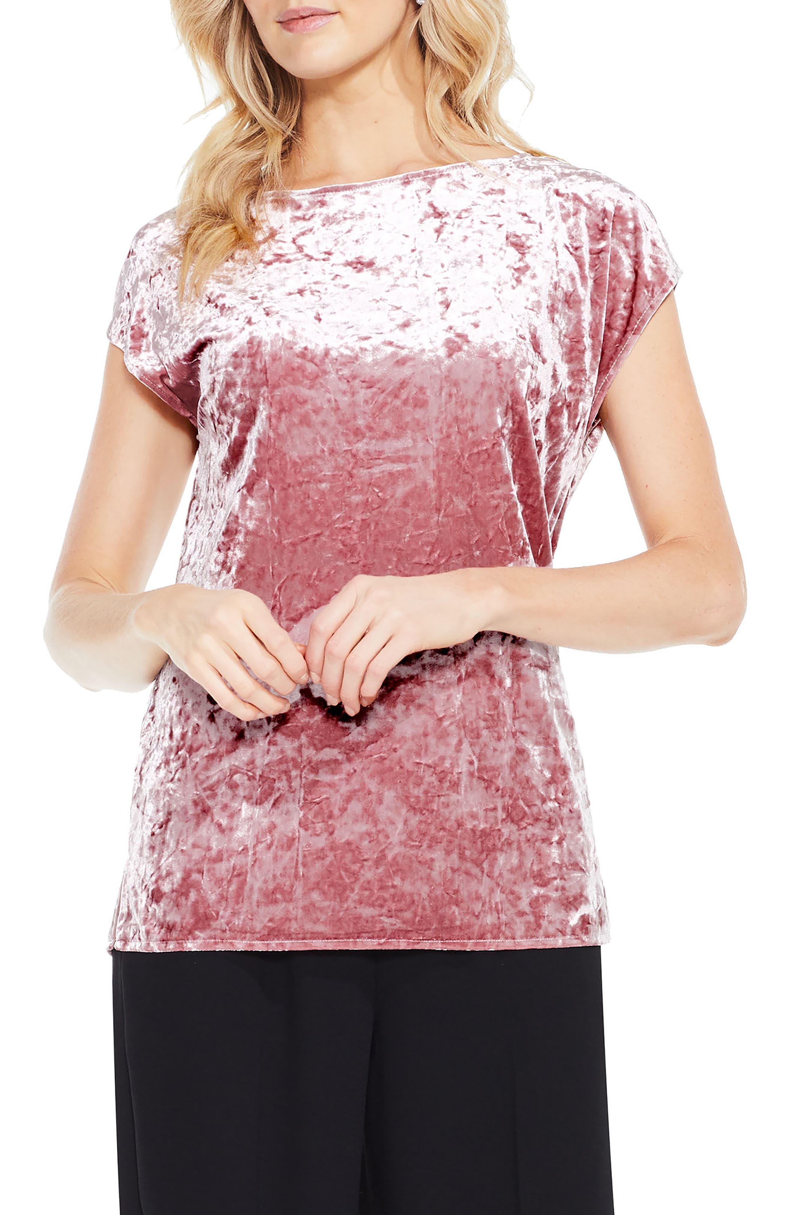 Crushed Velvet Knit Tee,                             Main thumbnail 2, color,