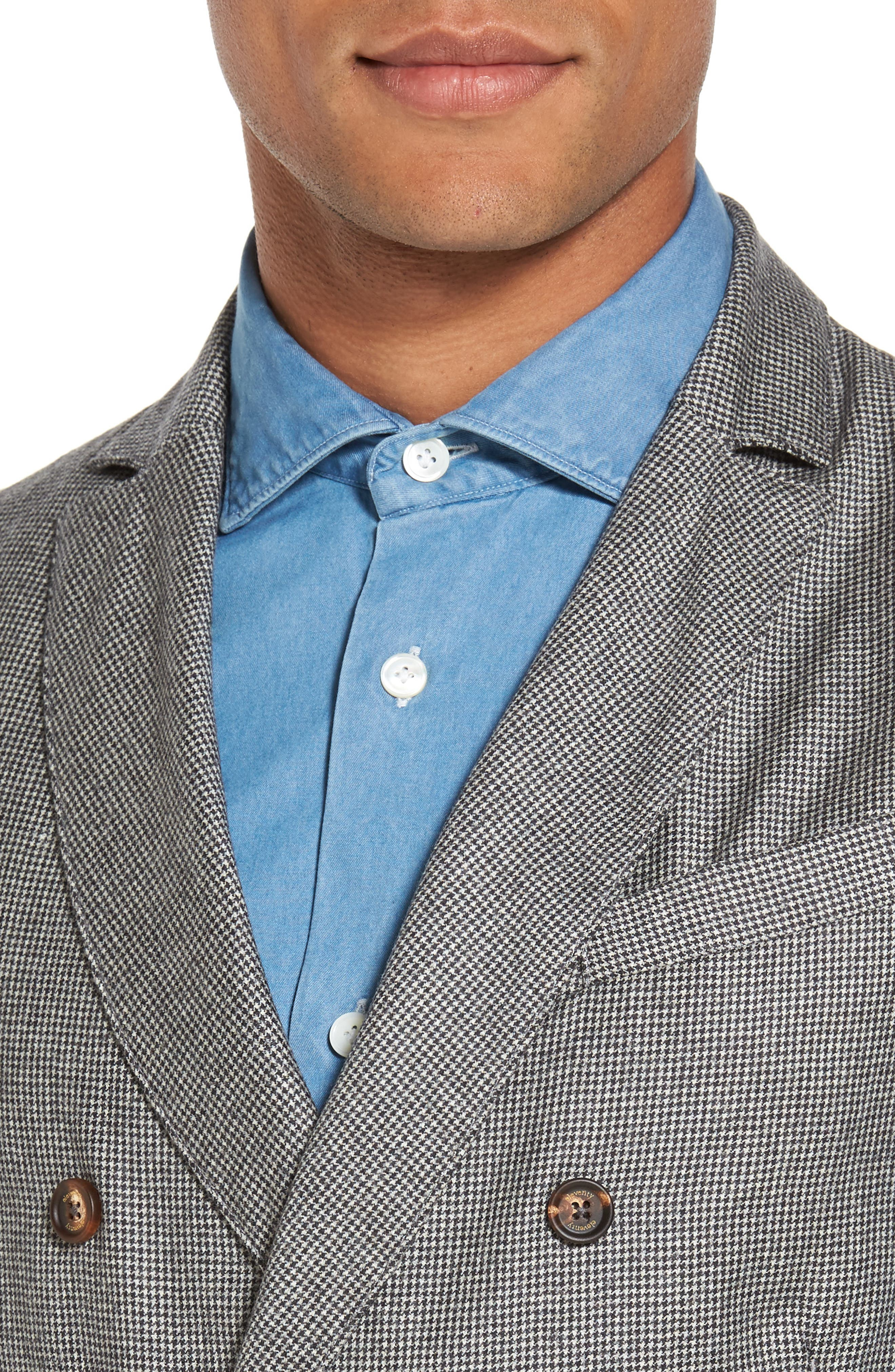 Houndstooth Wool Double Breasted Vest,                             Alternate thumbnail 4, color,                             020