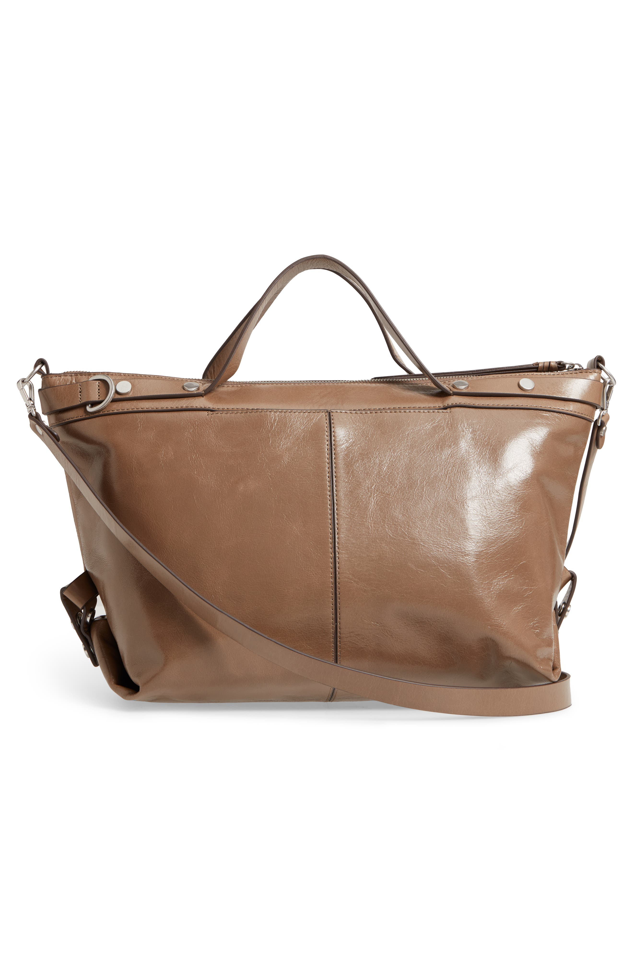Perry Glazed Leather Convertible Satchel,                             Alternate thumbnail 3, color,                             BEIGE BISCUIT
