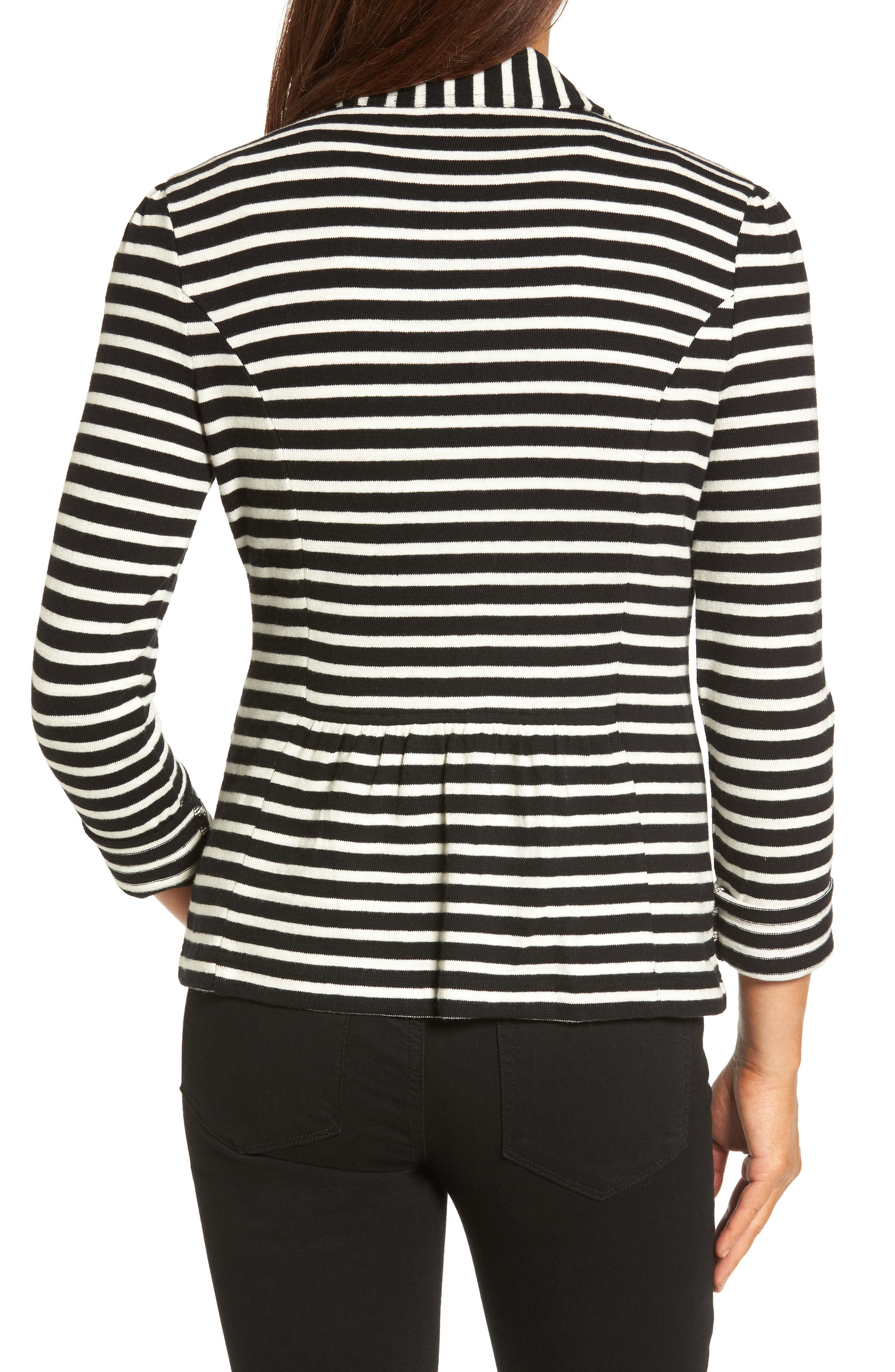CASLON<SUP>®</SUP>,                             Knit One-Button Blazer,                             Alternate thumbnail 2, color,                             BLACK- IVORY STRIPE