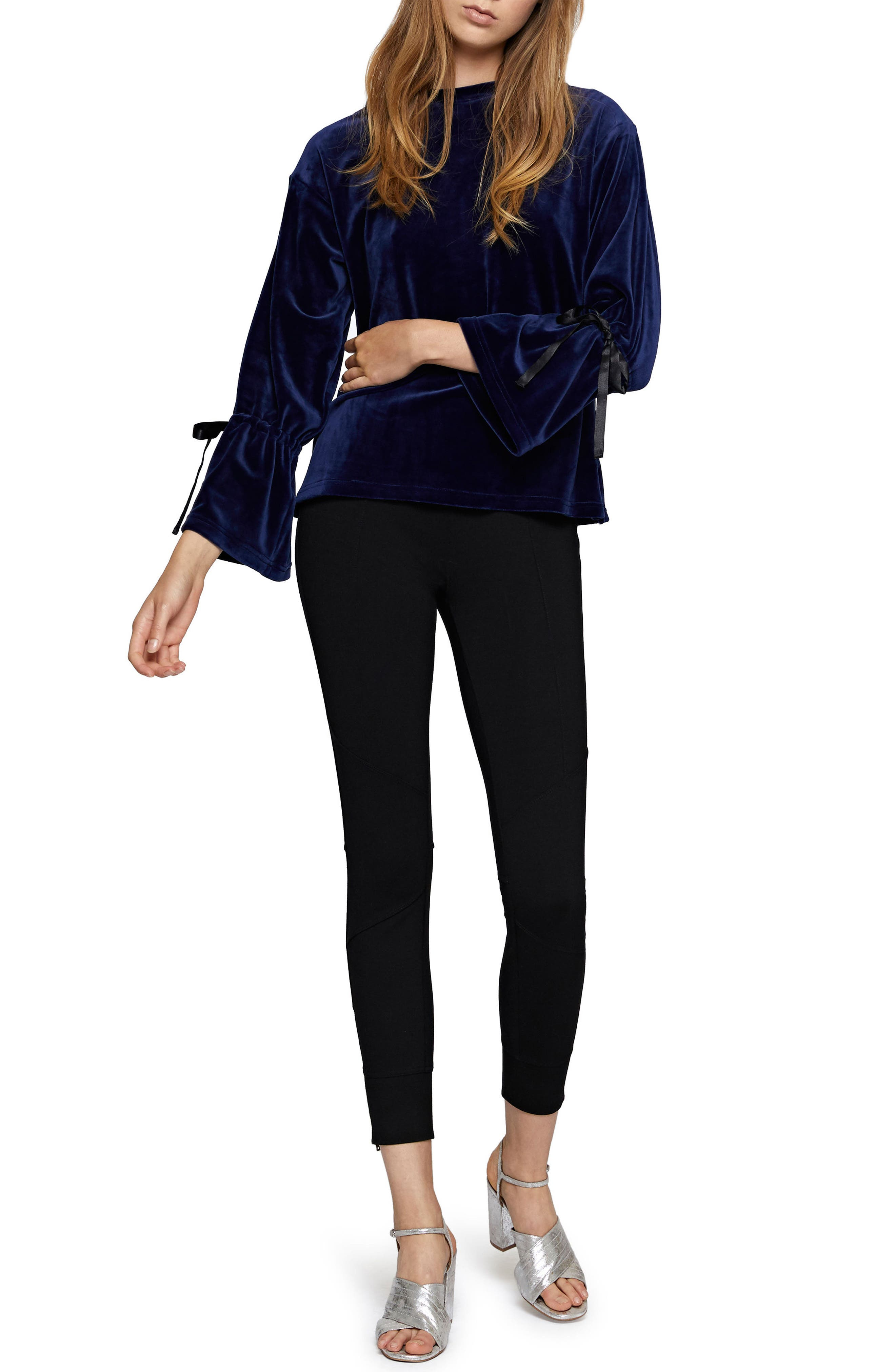 Tierney Tie Sleeve Velour Top,                             Alternate thumbnail 9, color,