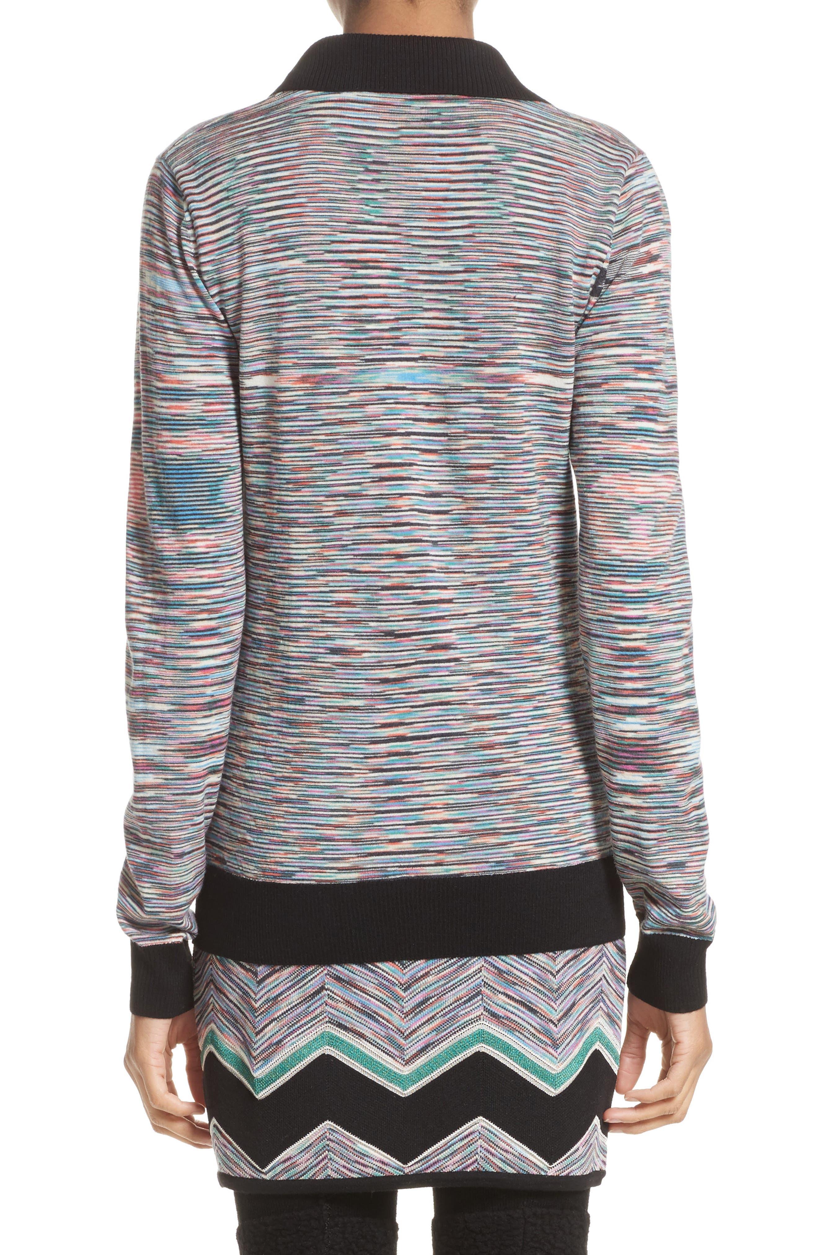 Space Dye Wool Blend Polo Sweater,                             Alternate thumbnail 2, color,                             001