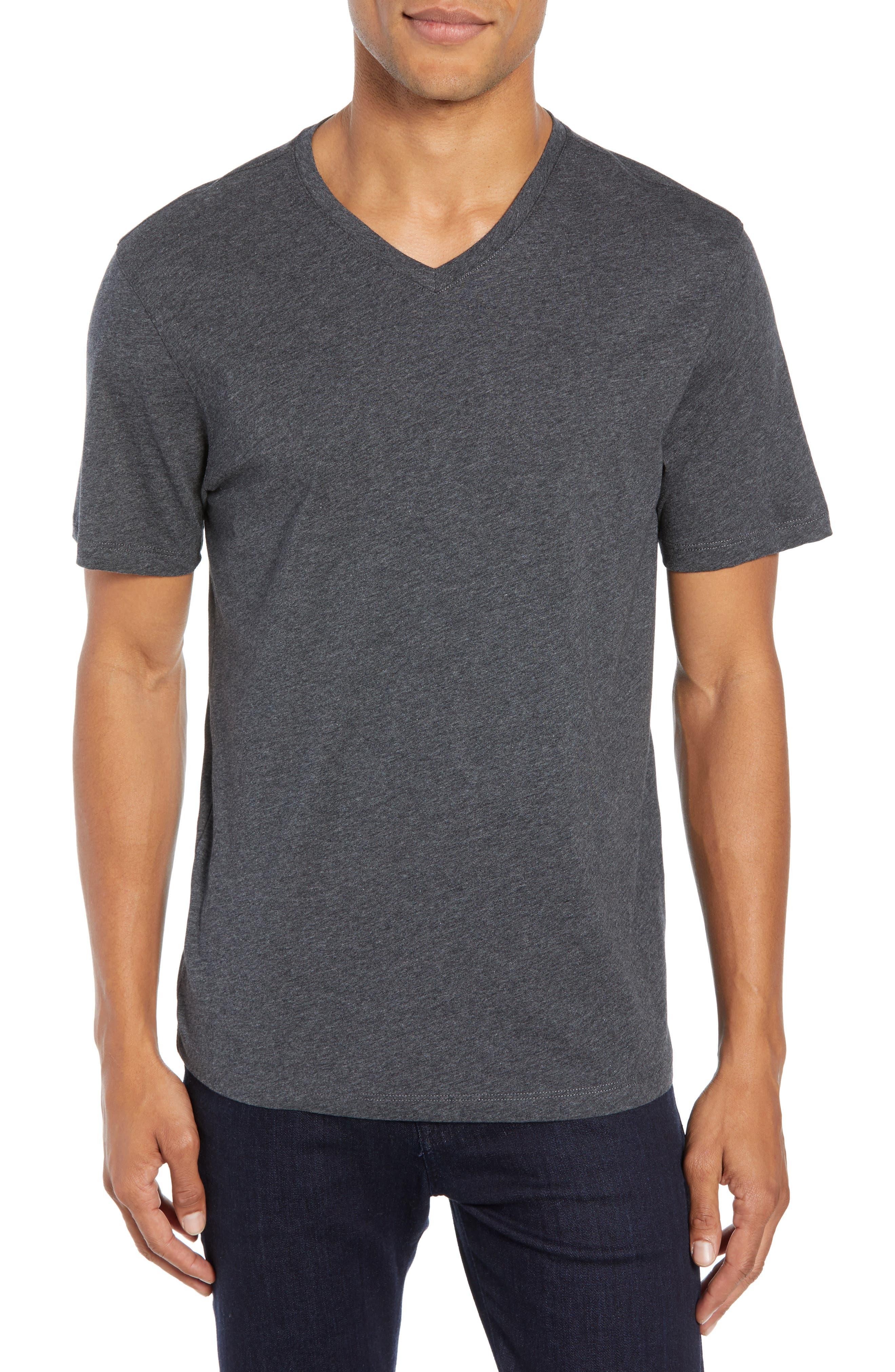 Mercer V-Neck T-Shirt,                         Main,                         color, DARK HEATHER CHARCOAL