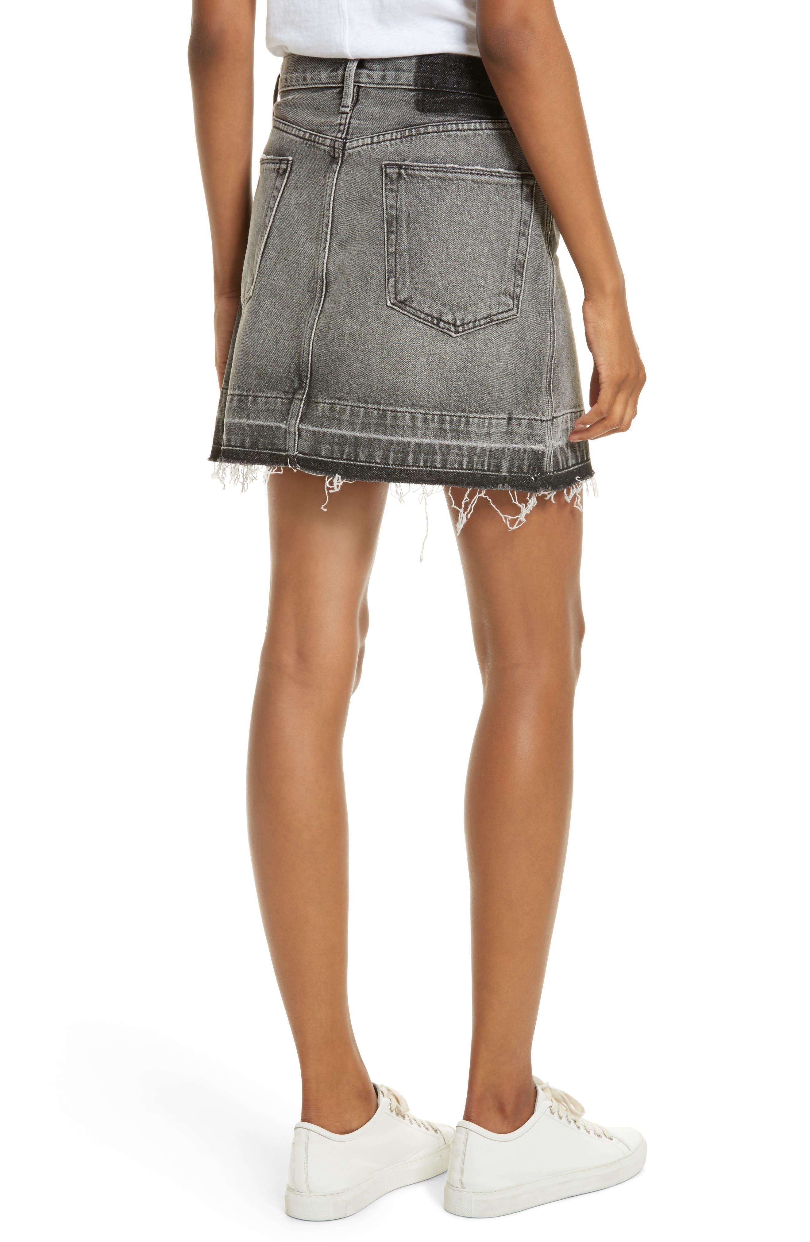 Frayed Hem Denim Skirt,                             Alternate thumbnail 2, color,                             030