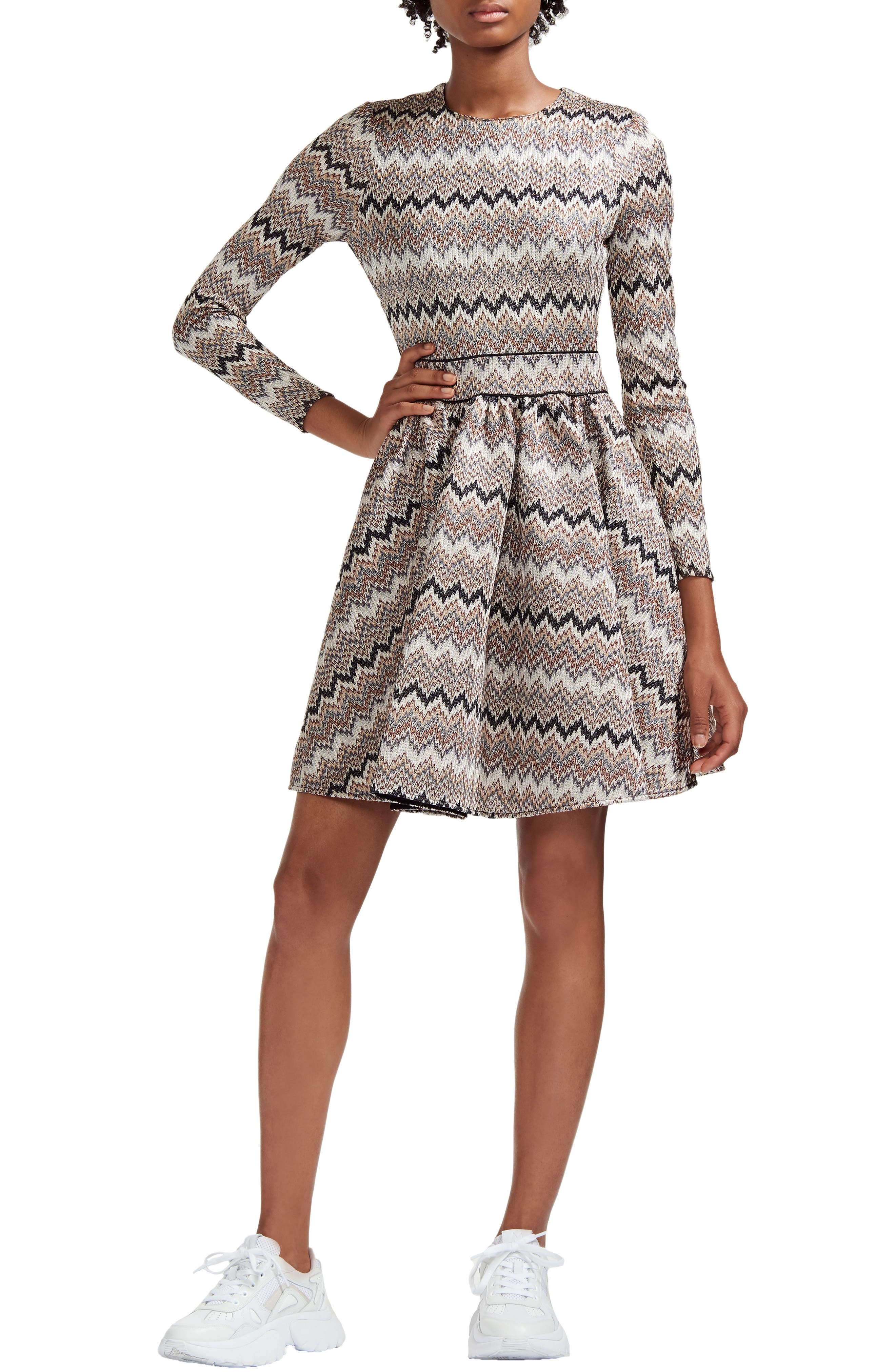 Long Sleeve Fit-And-Flare Dress in Ecru