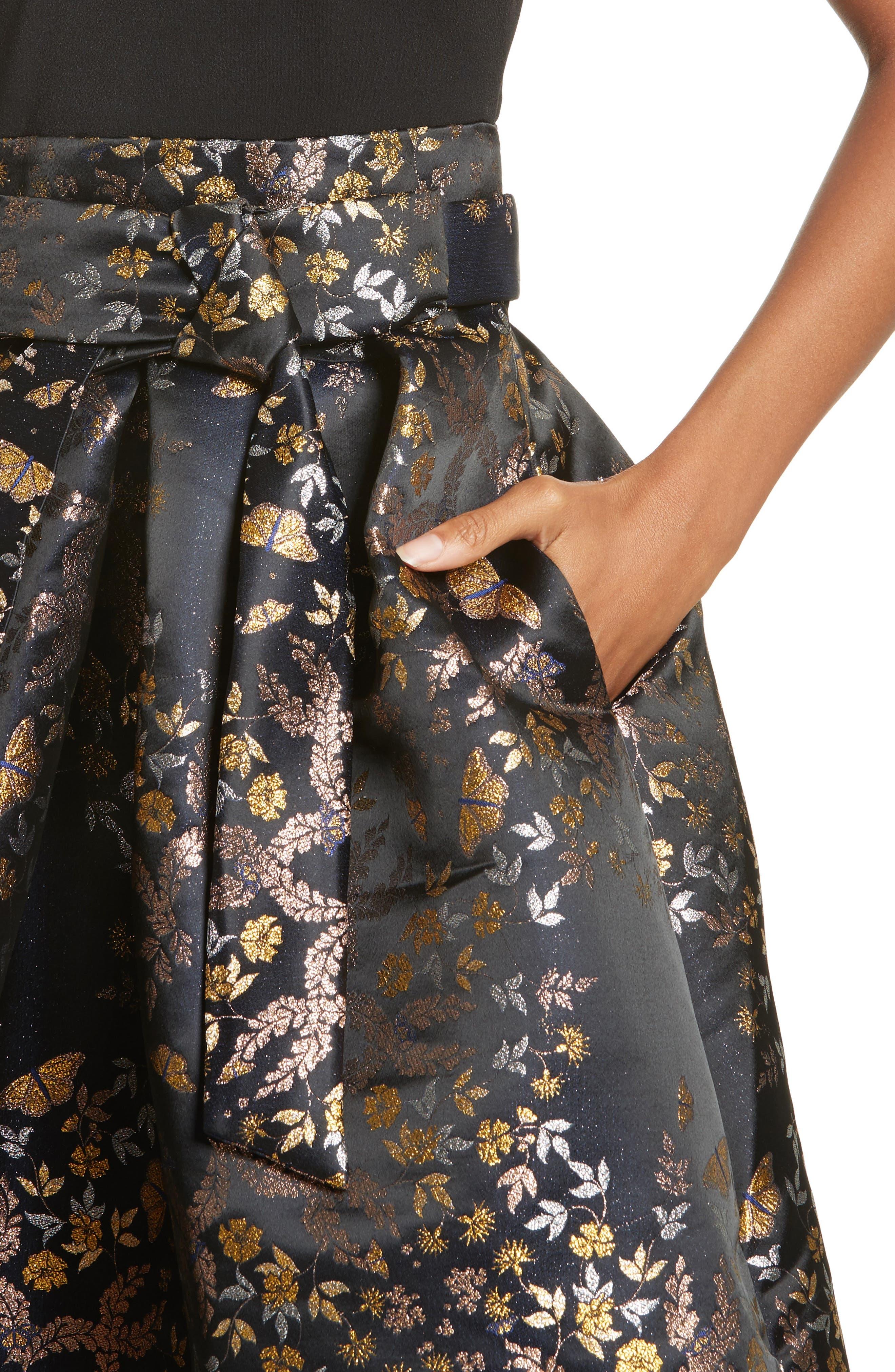 Dotalle Kyoto Garden Jacquard Midi Dress,                             Alternate thumbnail 4, color,                             001