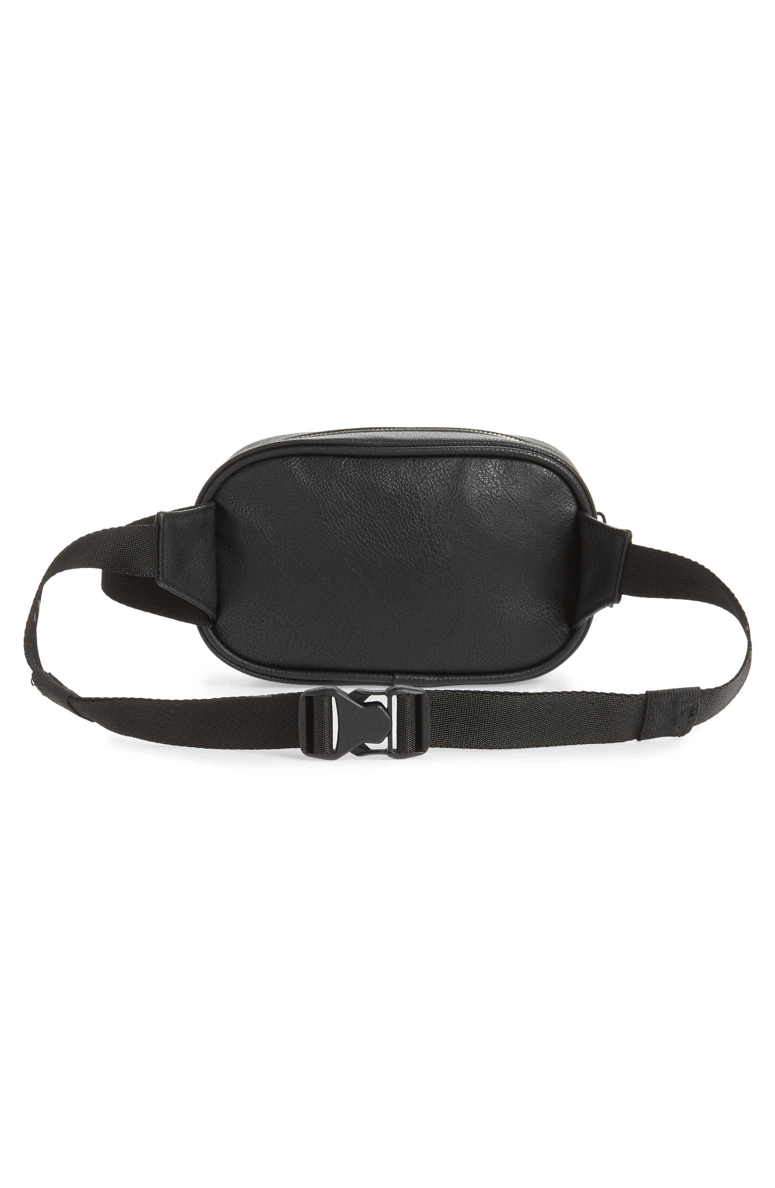 adidas Ori Faux Leather Fanny Pack,                             Alternate thumbnail 4, color,                             001