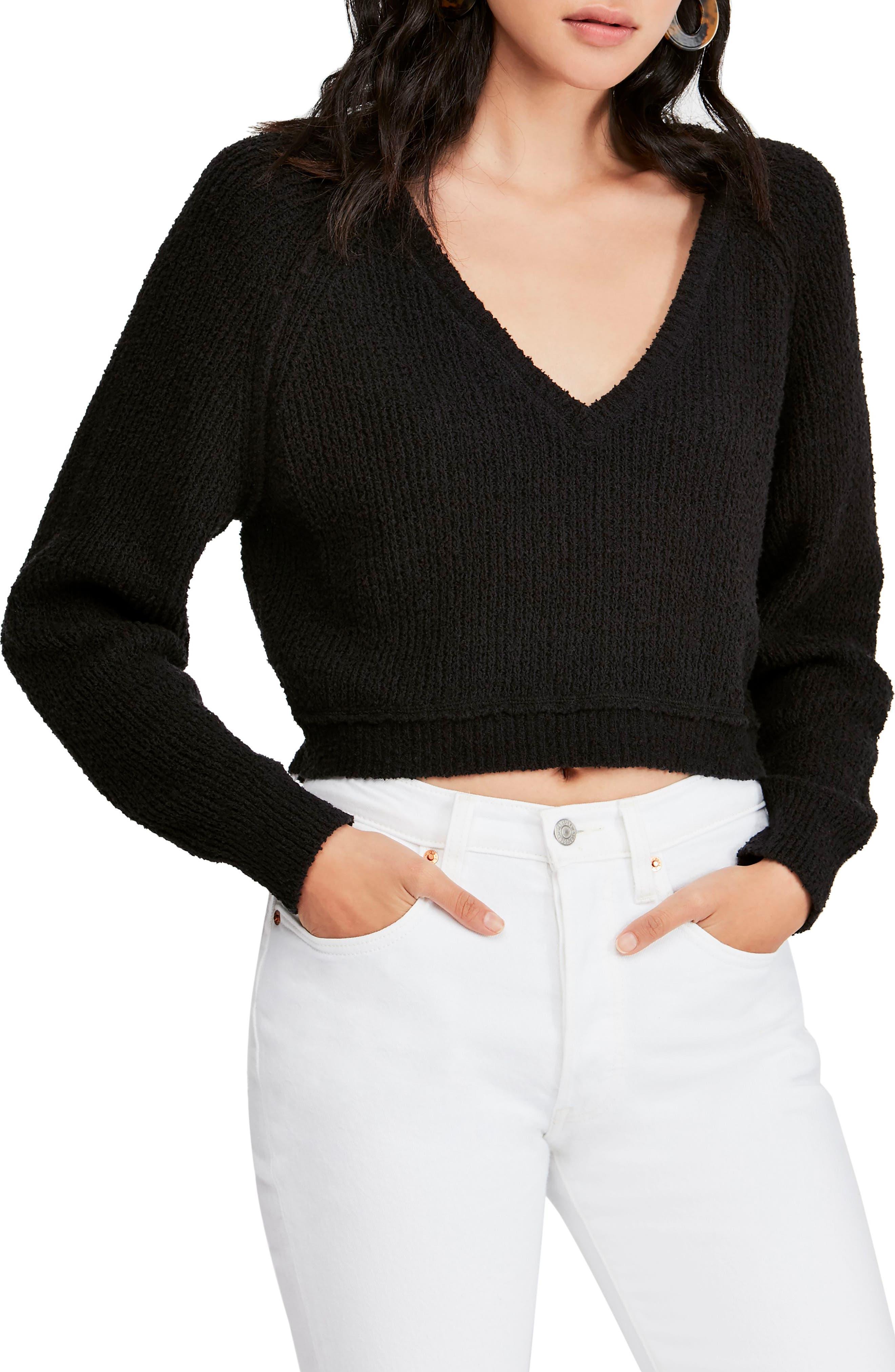 FREE PEOPLE V-Neck Sweater, Main, color, BLACK