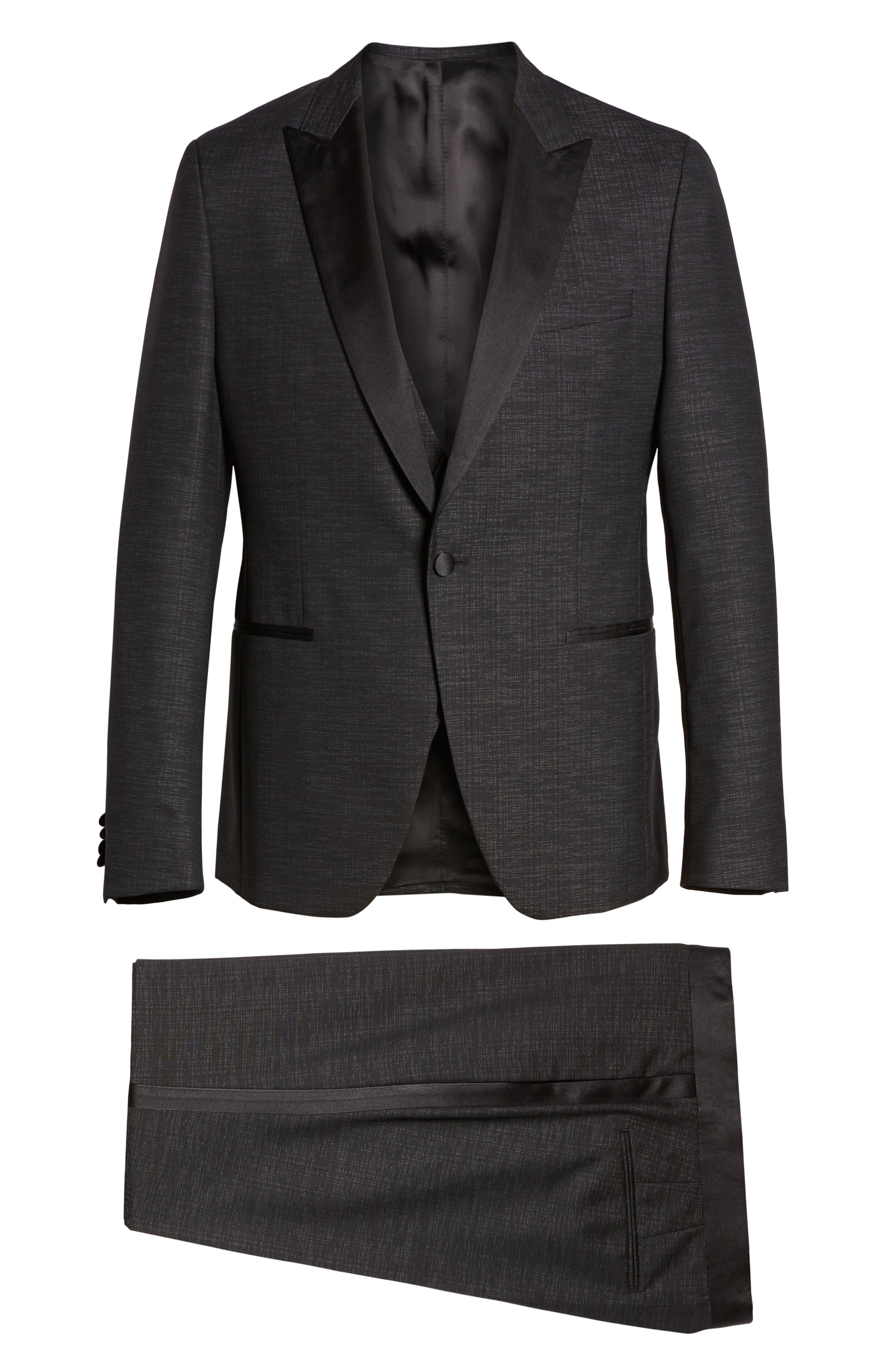 BOSS,                             Rendal/Wilden Slim Fit Three-Piece Tuxedo,                             Alternate thumbnail 9, color,                             BLACK