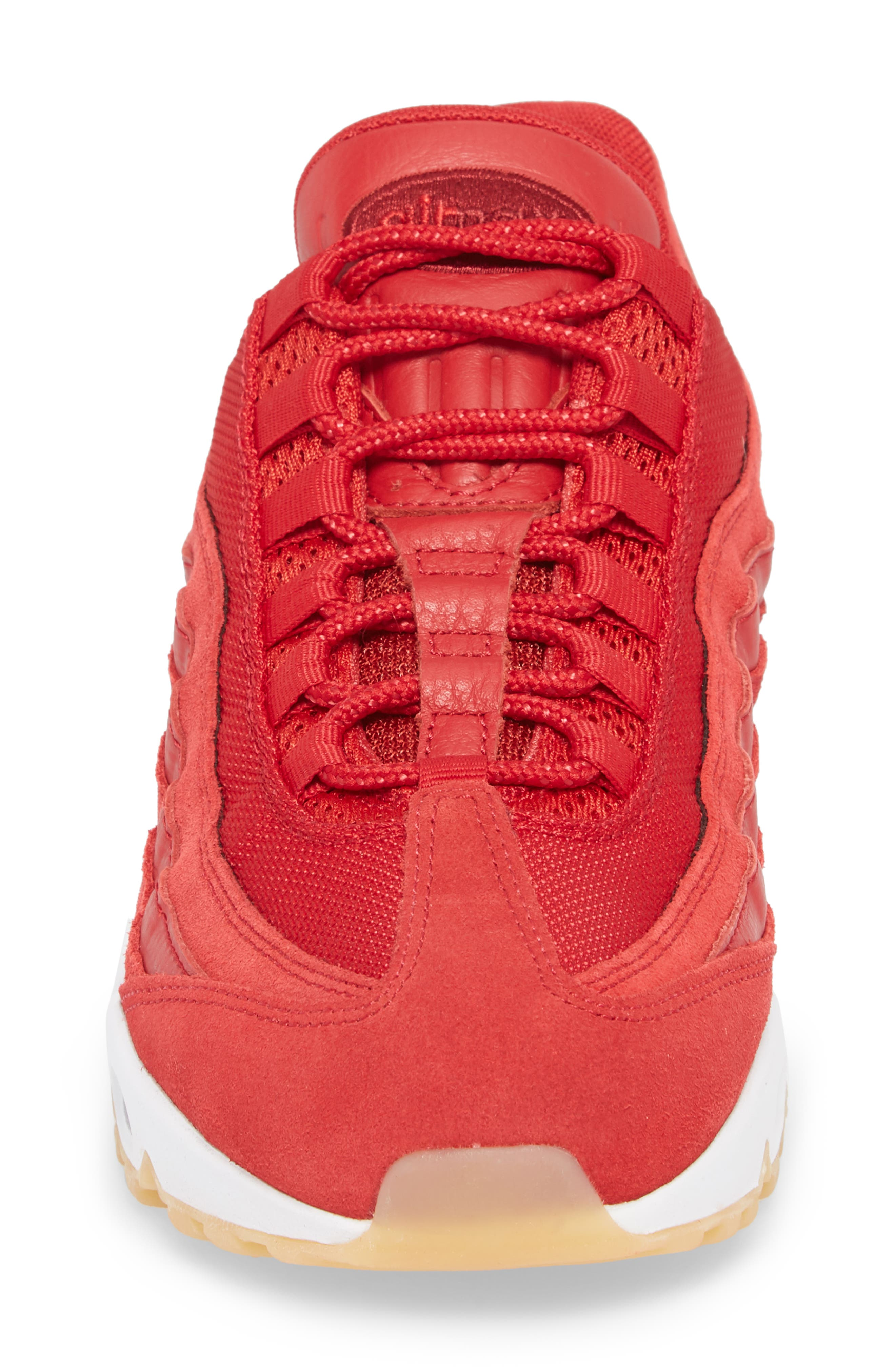 Air Max 95 Sneaker,                             Alternate thumbnail 4, color,                             GYM RED/ TEAM RED/ WHITE