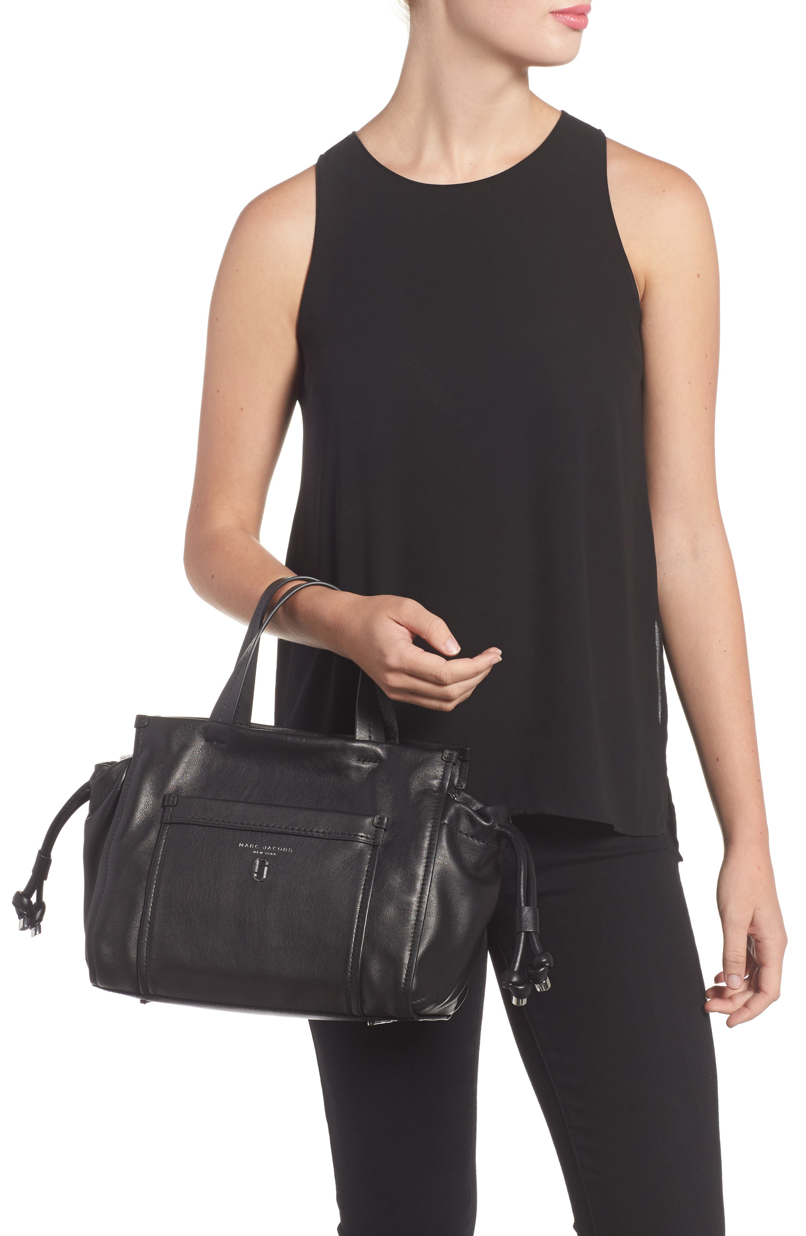 Tied Up Leather Shoulder/Crossbody Tote,                             Alternate thumbnail 2, color,                             001