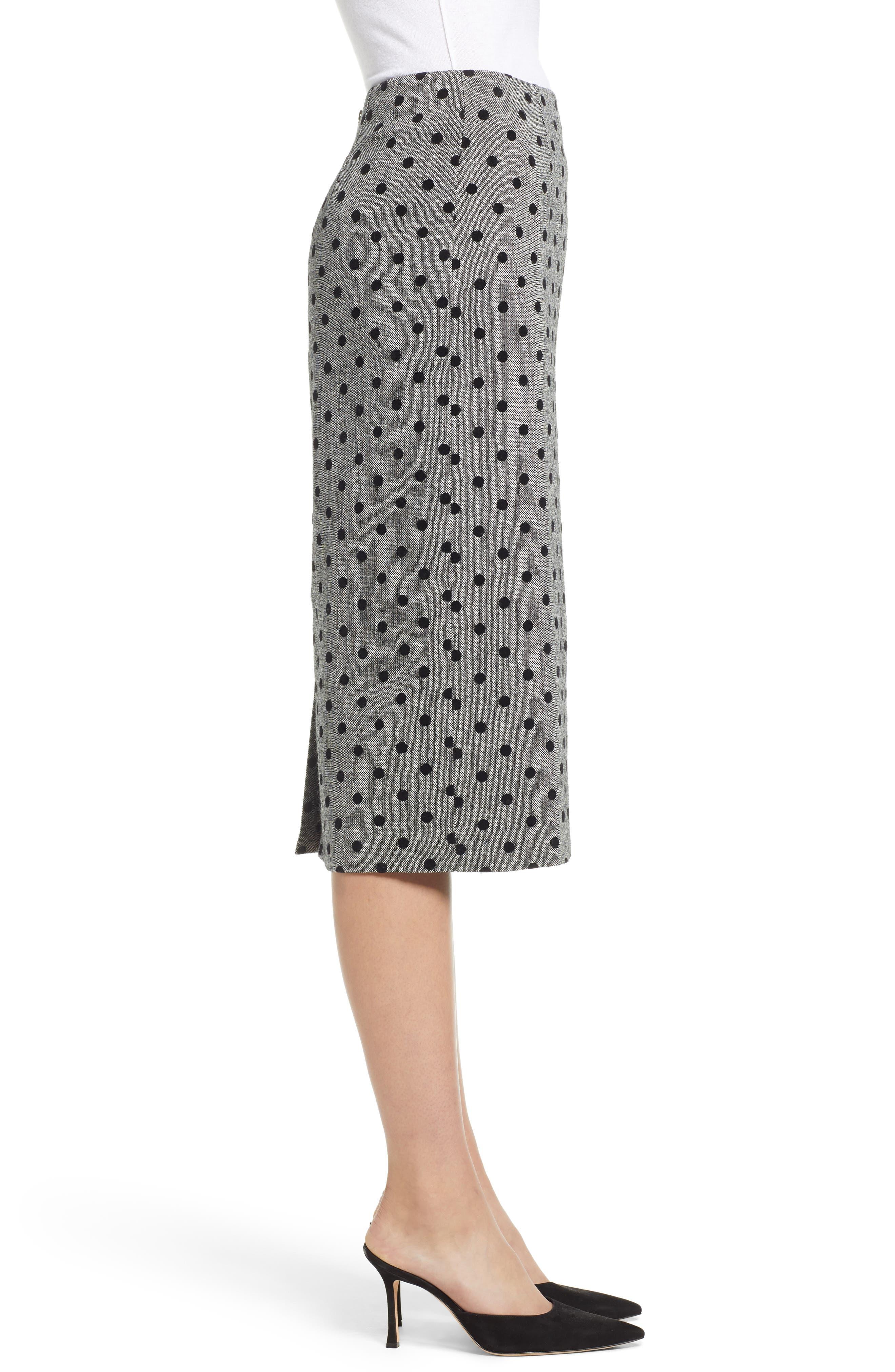 Dot Pencil Skirt,                             Alternate thumbnail 3, color,                             GREY- BLACK DOT