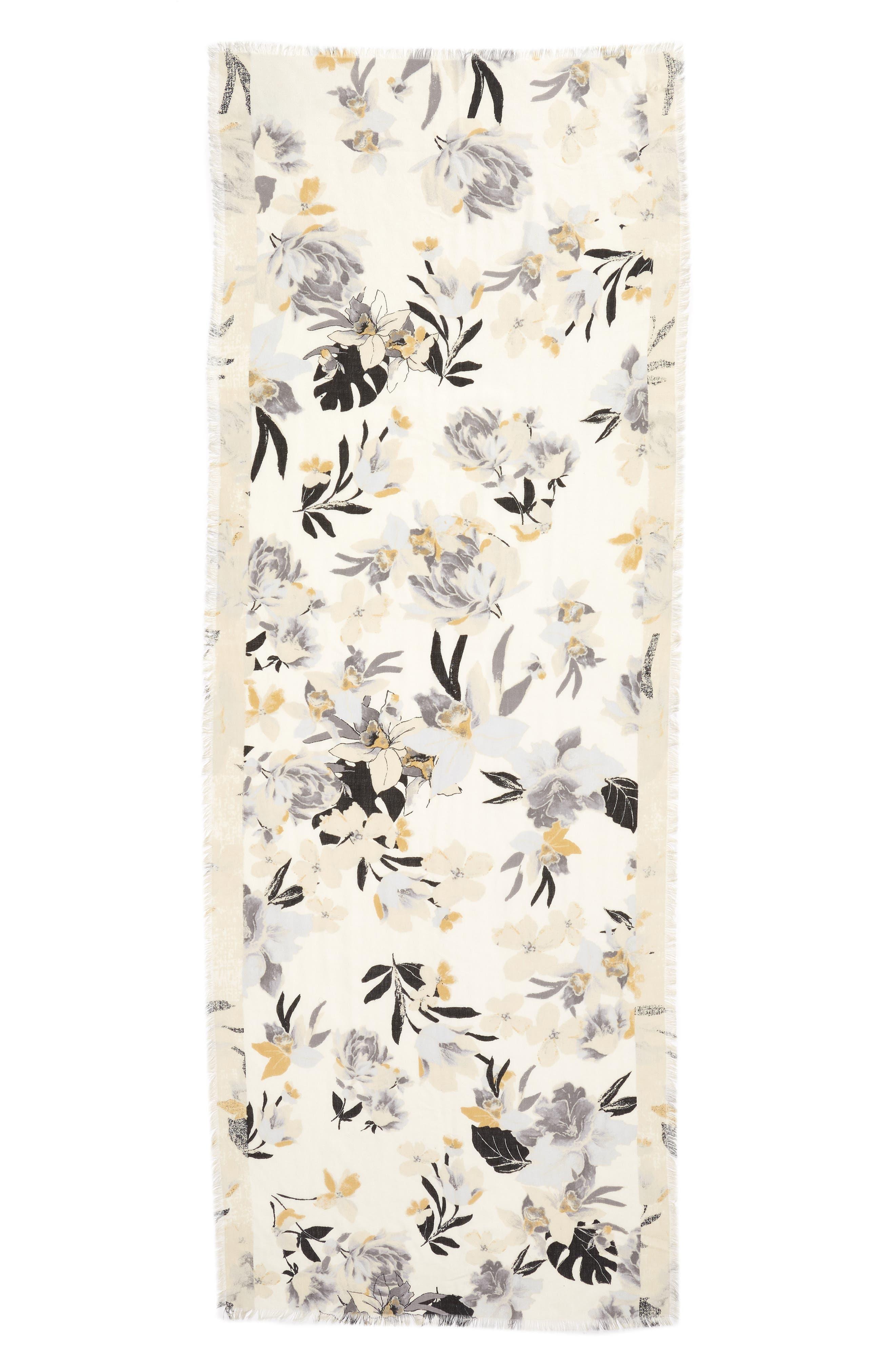 Eyelash Trim Print Cashmere & Silk Wrap,                             Alternate thumbnail 93, color,