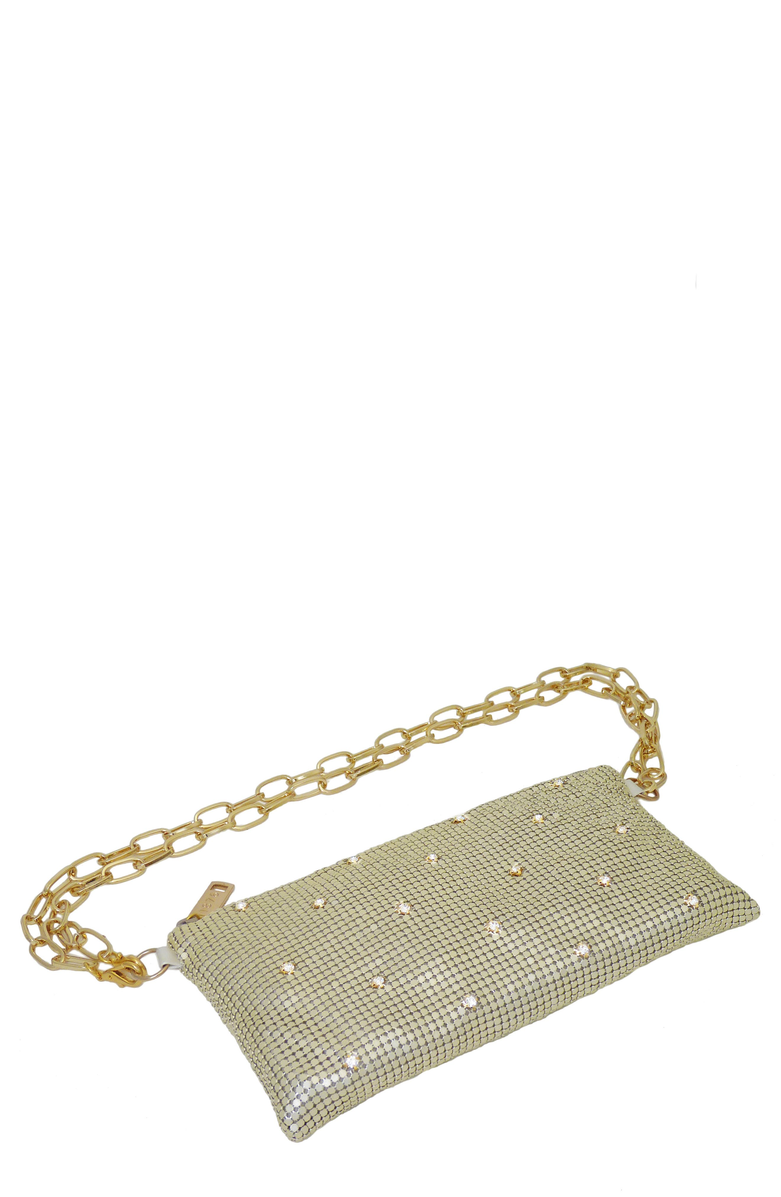 WHITING & DAVIS Crystal Belt Bag - Ivory in Pearl