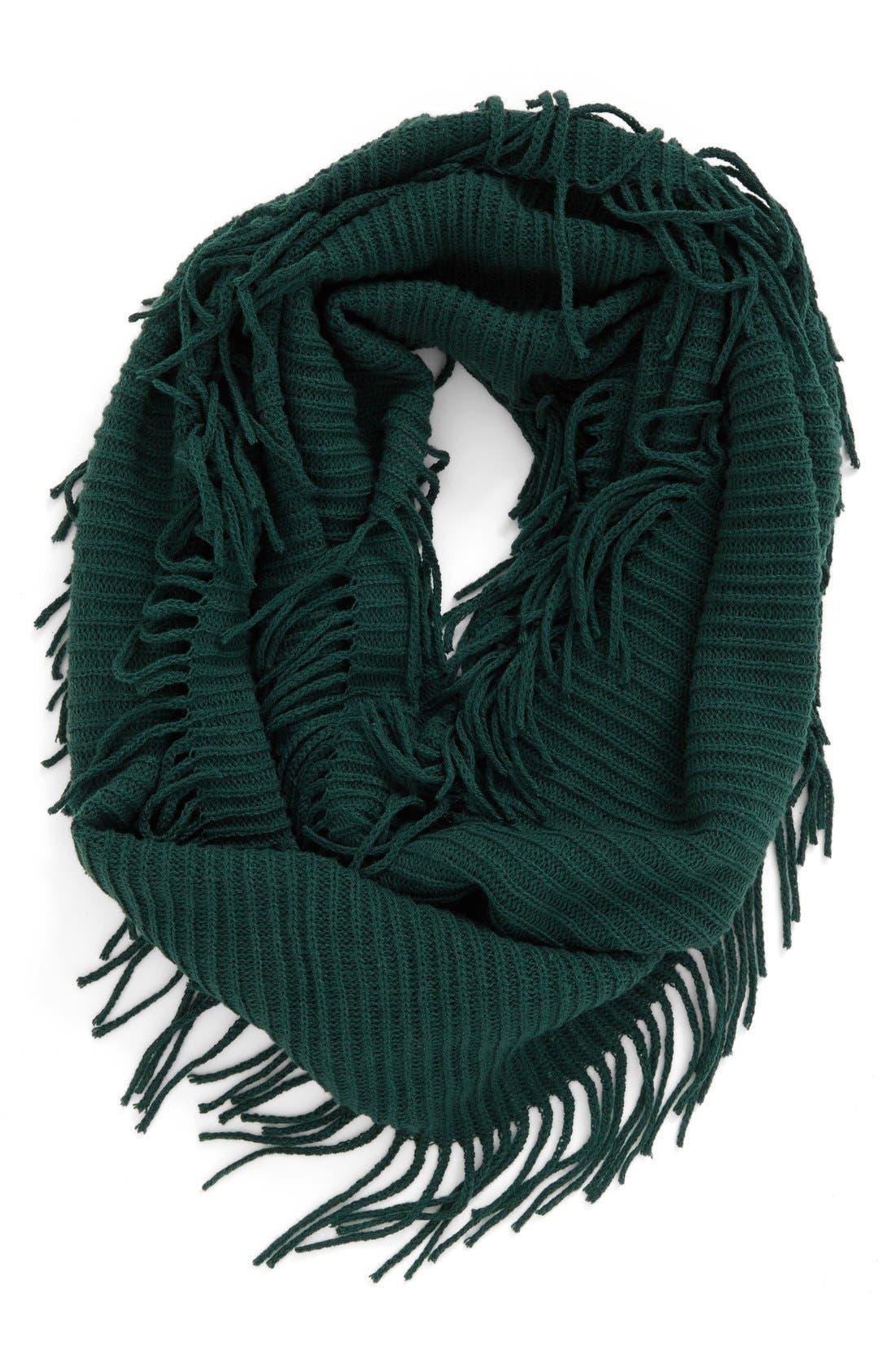 Rib Knit Fringe Infinity Scarf,                             Main thumbnail 4, color,